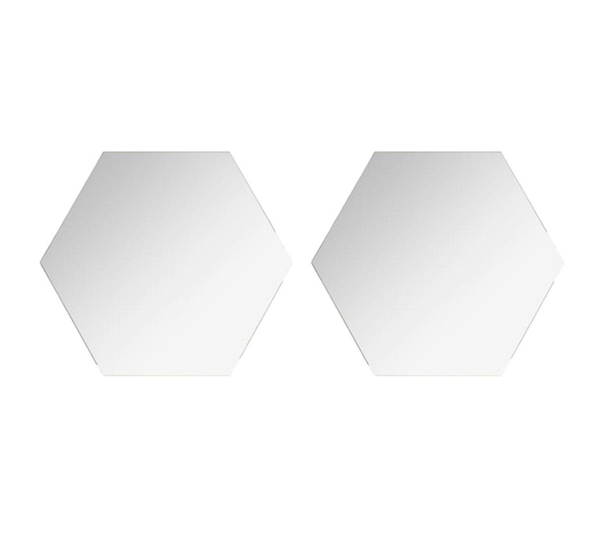 """Lot de 2 Miroirs Adhésifs /""""Hexagone/"""" 40x40cm Argent"""