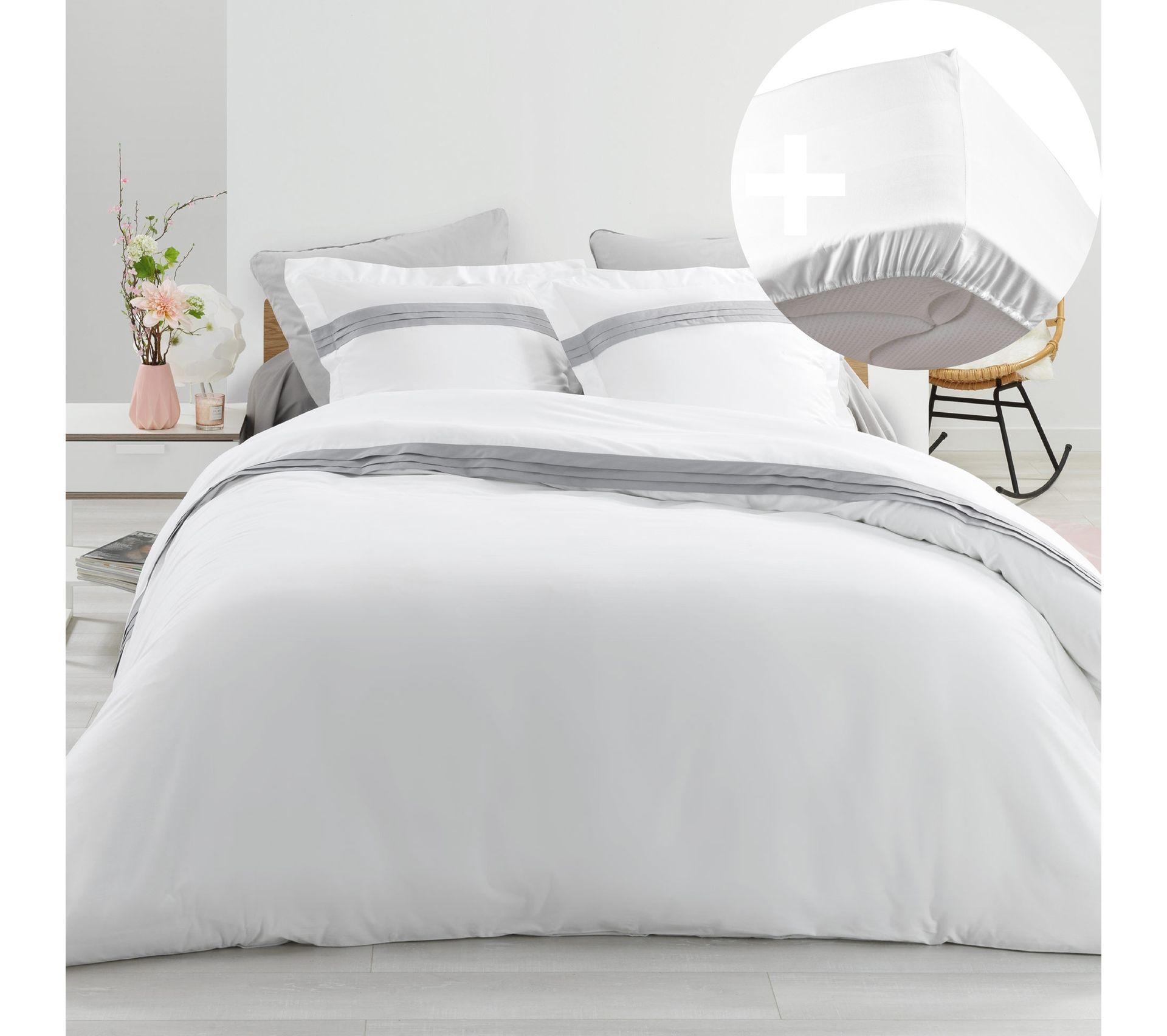 Drap housse blanc cassé en coton brossé housse de couette couette ensemble de literie taie d/'oreiller