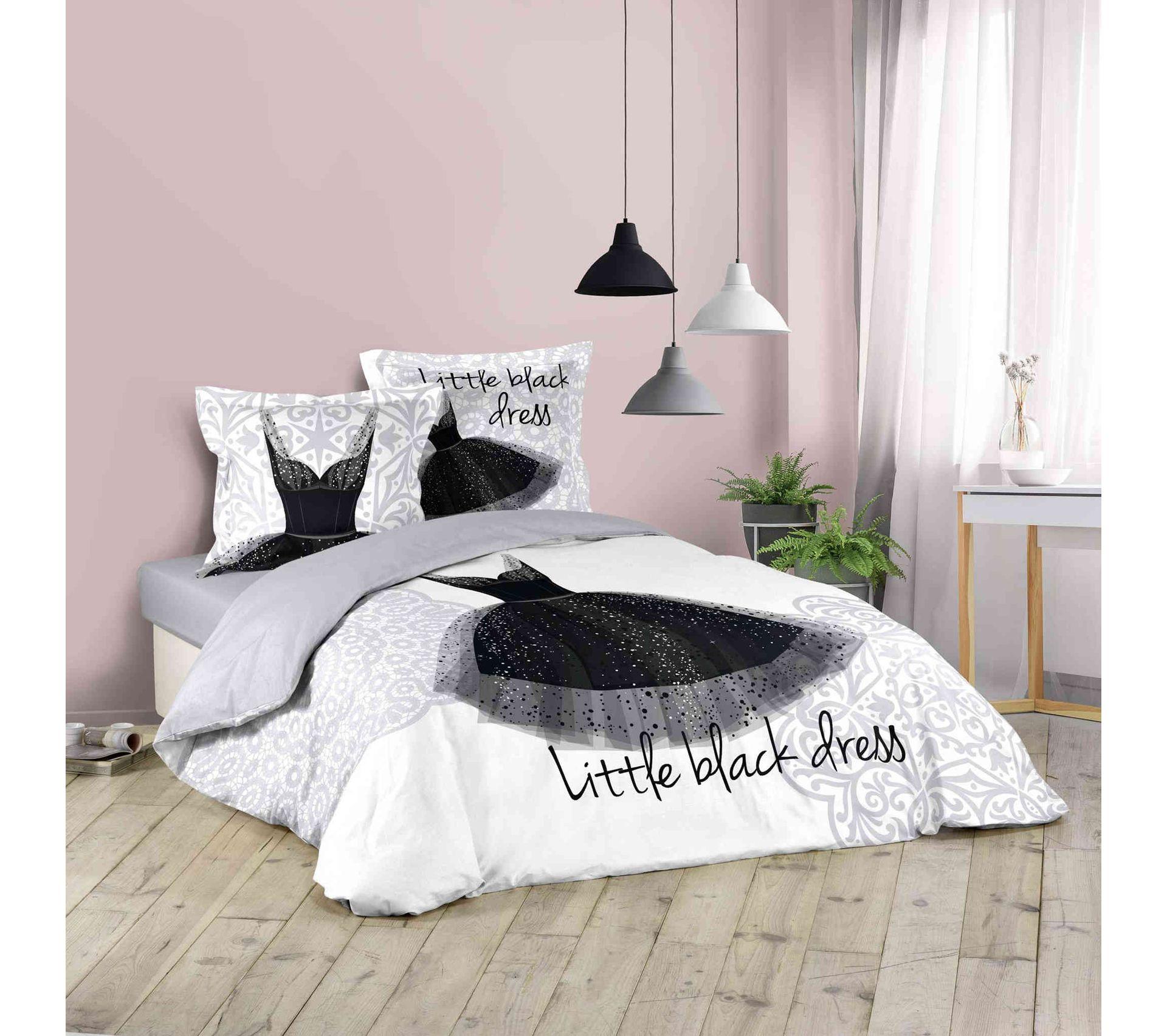 """Housse De Couette Noir Blanc Gris parure de couette imprimée"""" petite robe noire"""" - 200 x 200"""