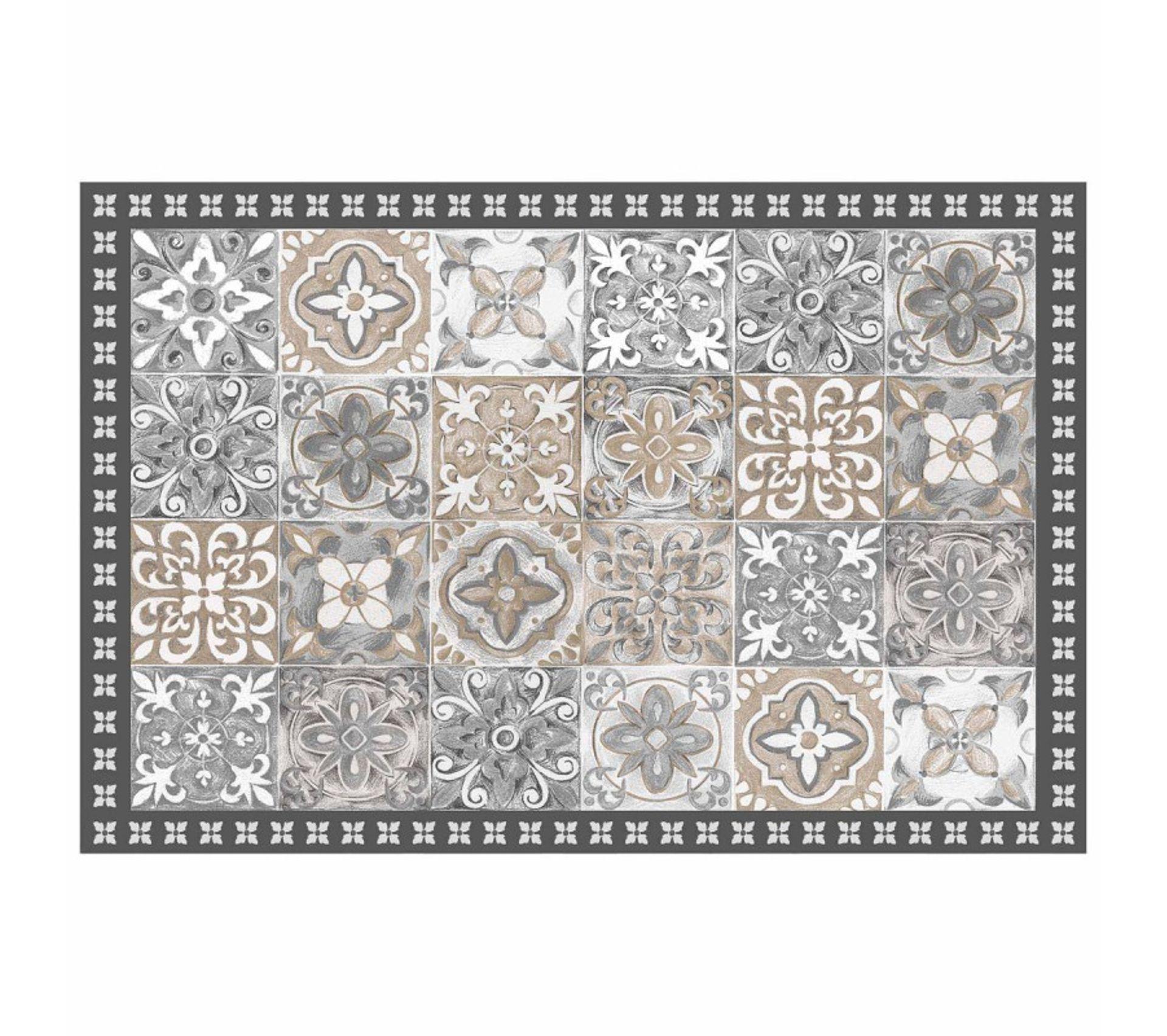 Tapis Effet Carreaux De Ciment tapis en vinyle effet carreaux de ciment - 50 x 75 cm - naturel