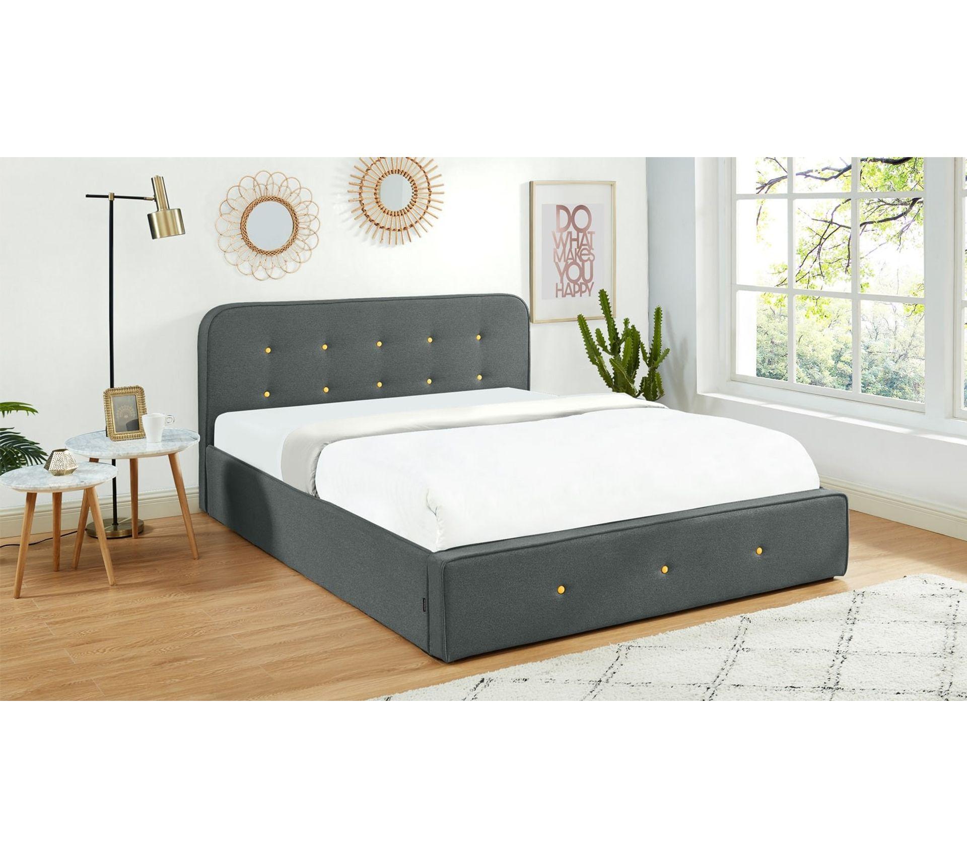 Tete De Lit Voile lit coffre 160x200 cm gris foncé avec tête de lit + sommier À lattes -  collection achille