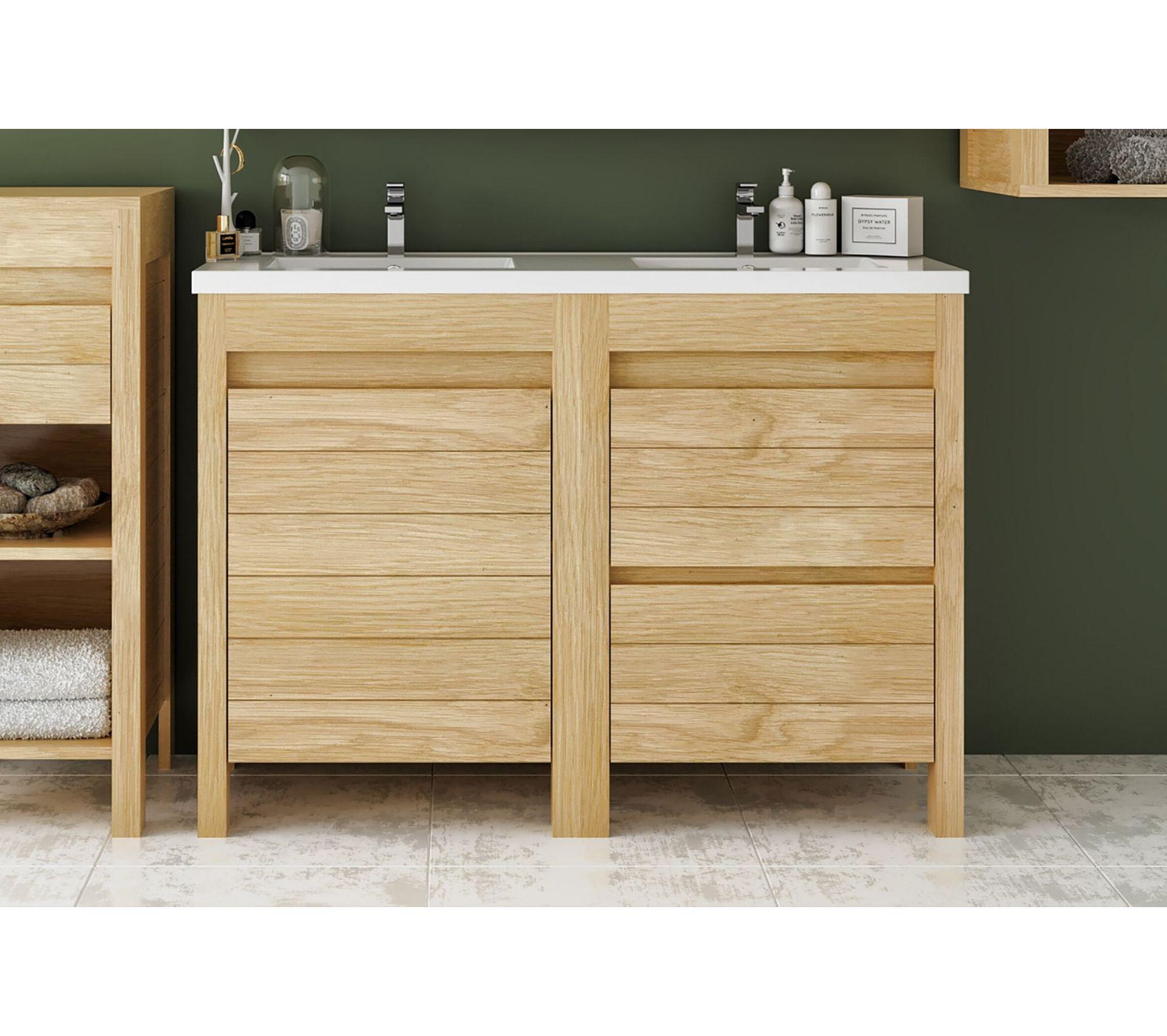 Bois Salle De Bain meuble de salle de bain 120 cm en bois massif avec sa double vasque - cork