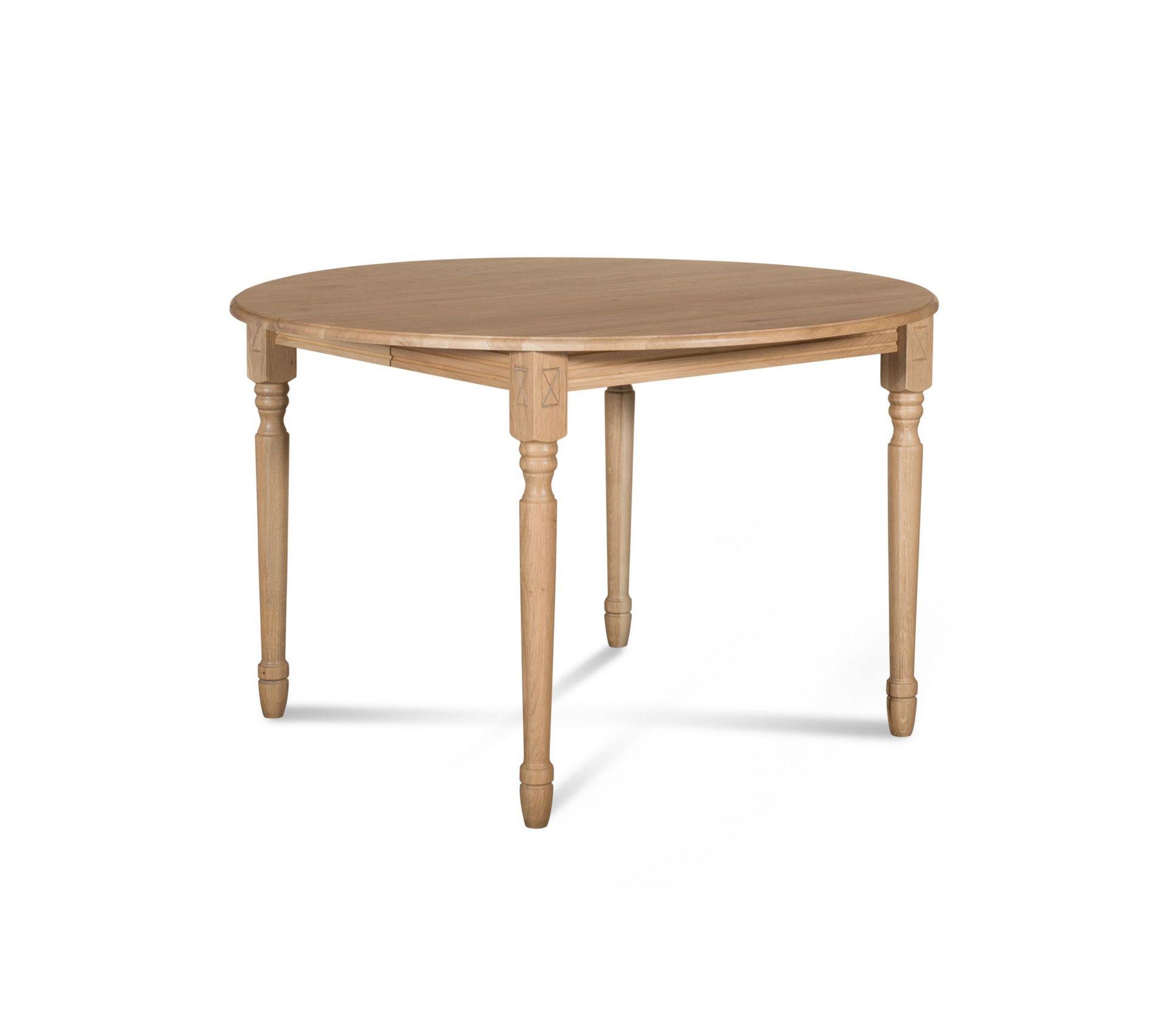 Table Extensible Ronde Bois A Rallonges 115 Cm Pieds Tournes