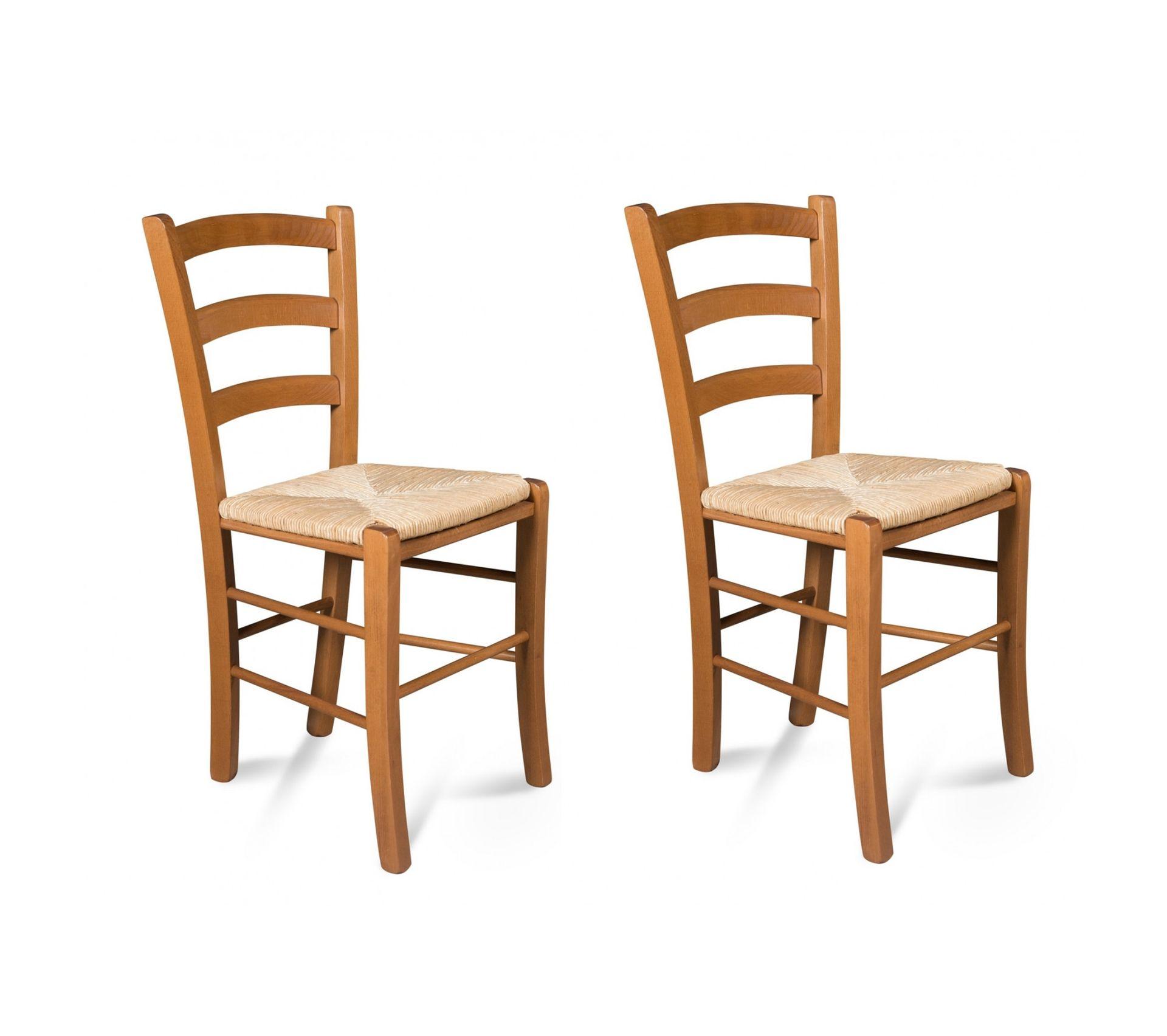 Paille De Fer Souris chaises bois - assise paille - tina (lot de 2) - chaise but