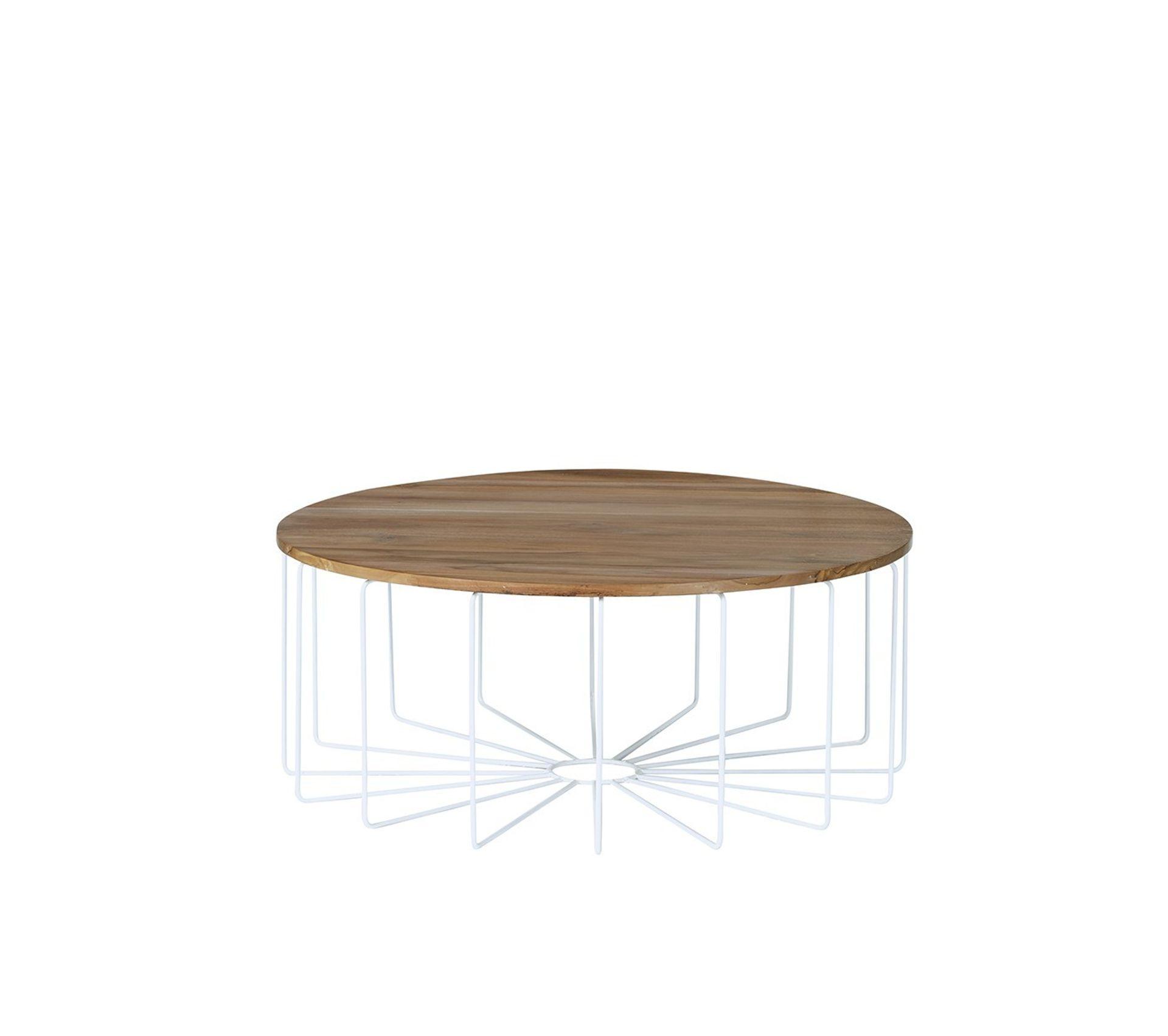 Table Basse Ronde En Bois De Teck Et Metal Table Basse But