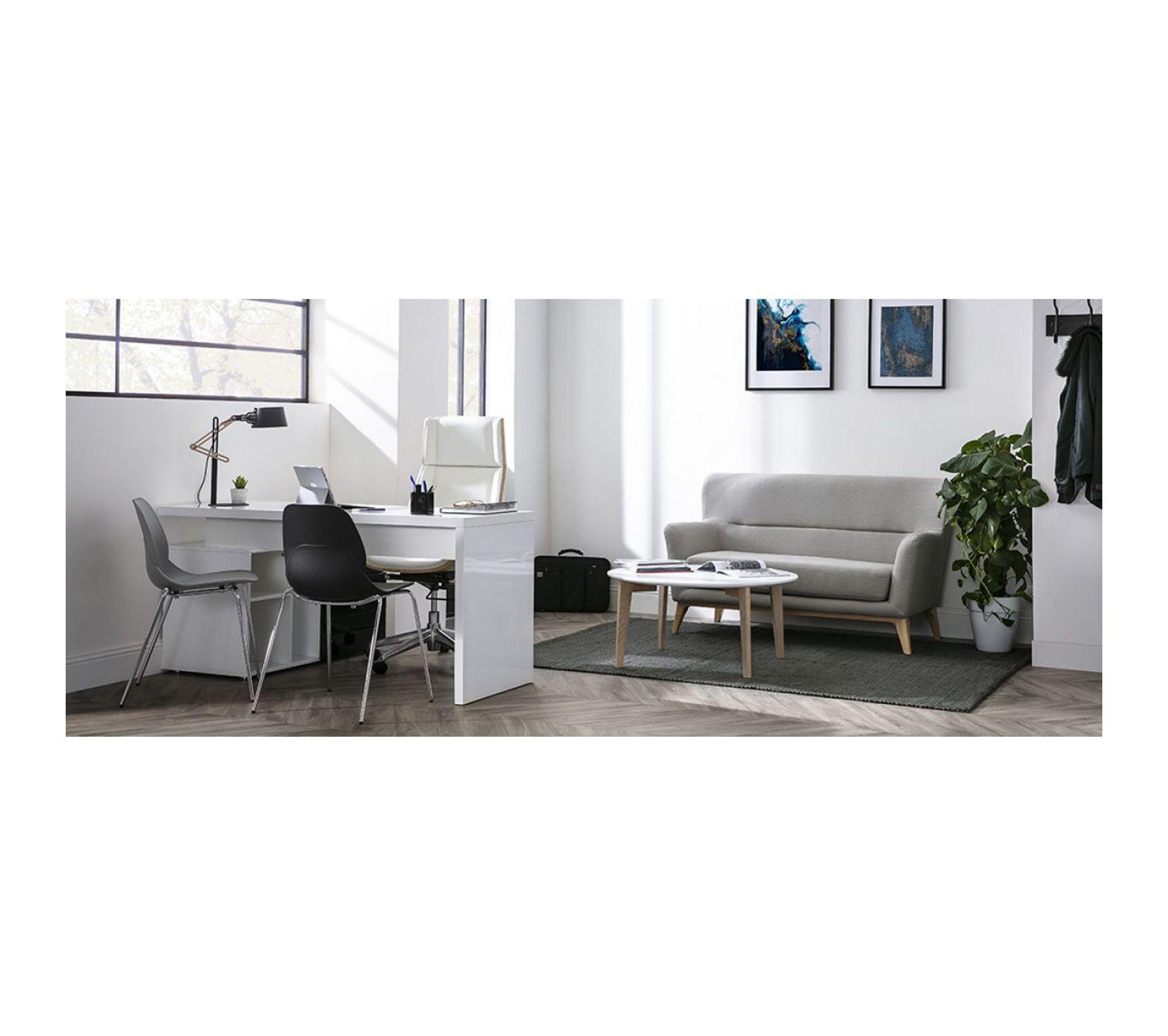 Difference Blanc Brillant Et Blanc Laqué bureau design laqué brillant blanc et noir avec rangements À droite maxi