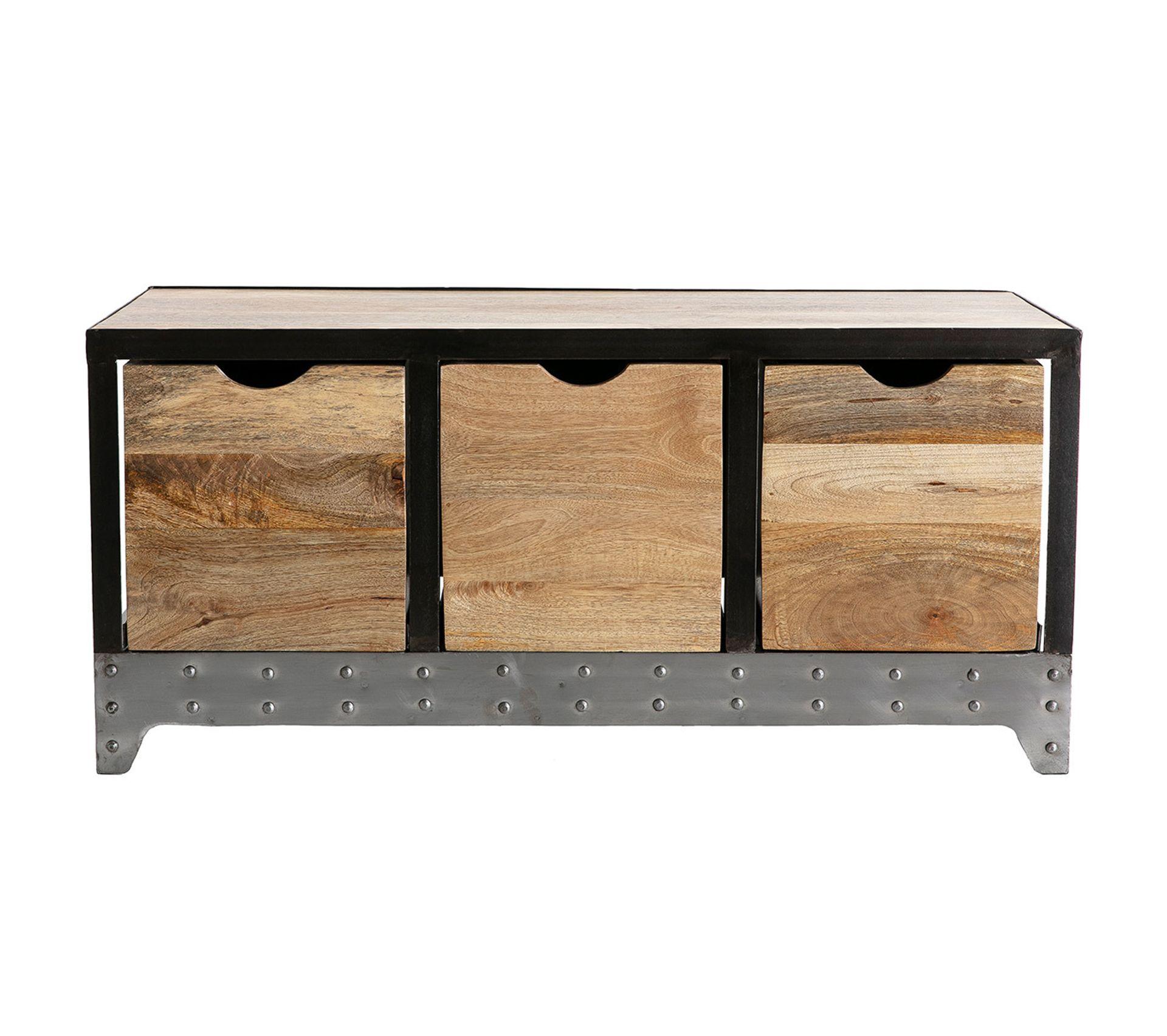 Rangement Pour Le Bois meuble rangement / chaussures industriel bois massif et métal atelier
