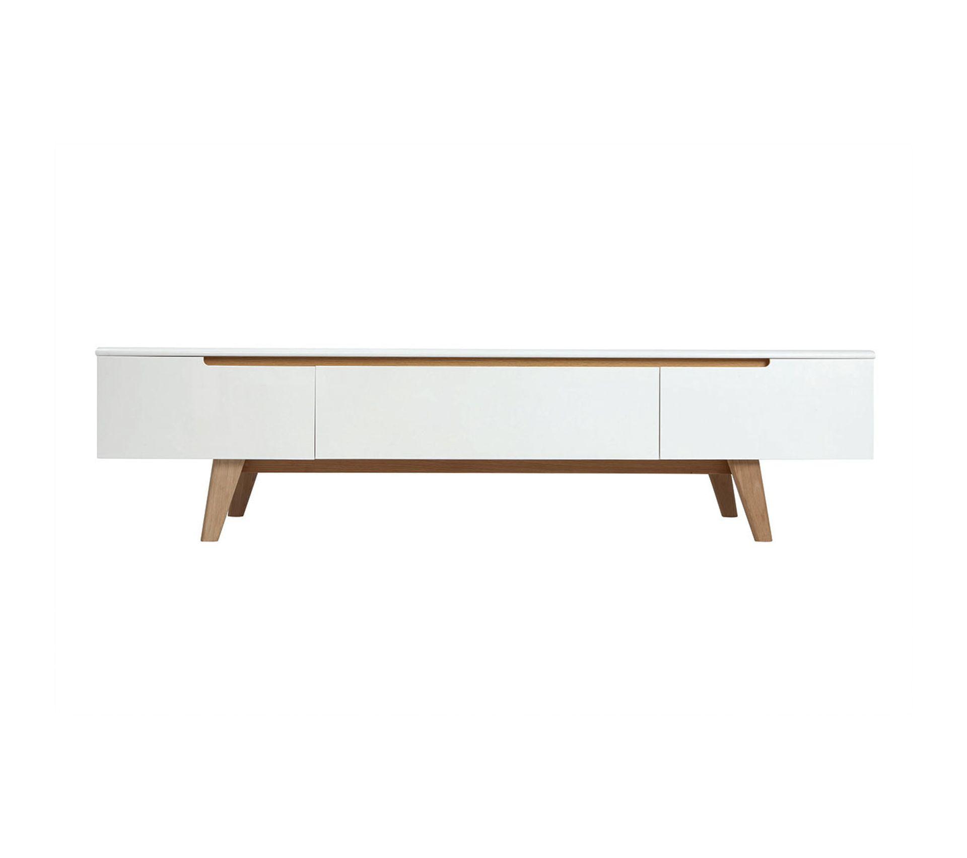 Meuble Sous Lavabo Maison Du Monde meuble tv scandinave blanc brillant et frêne 180 cm melka