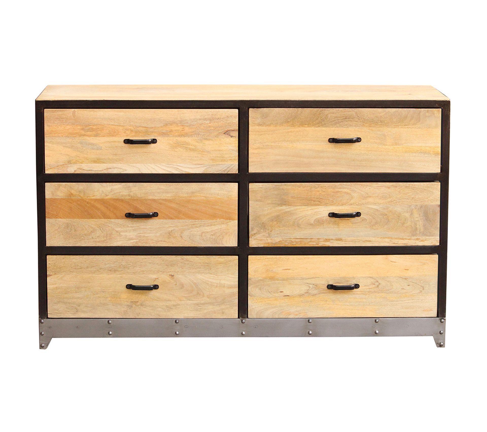Commode Chambre Style Industriel commode 6 tiroirs bois et métal industria