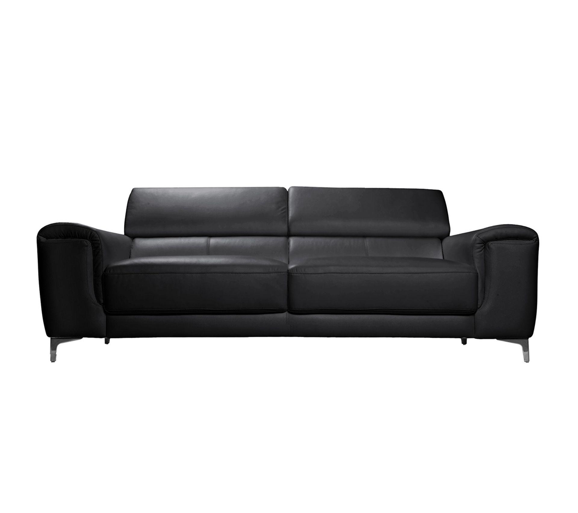 Entretien Canapé Cuir Buffle canapé cuir design 3 places avec têtières relax noir nevada - cuir de buffle