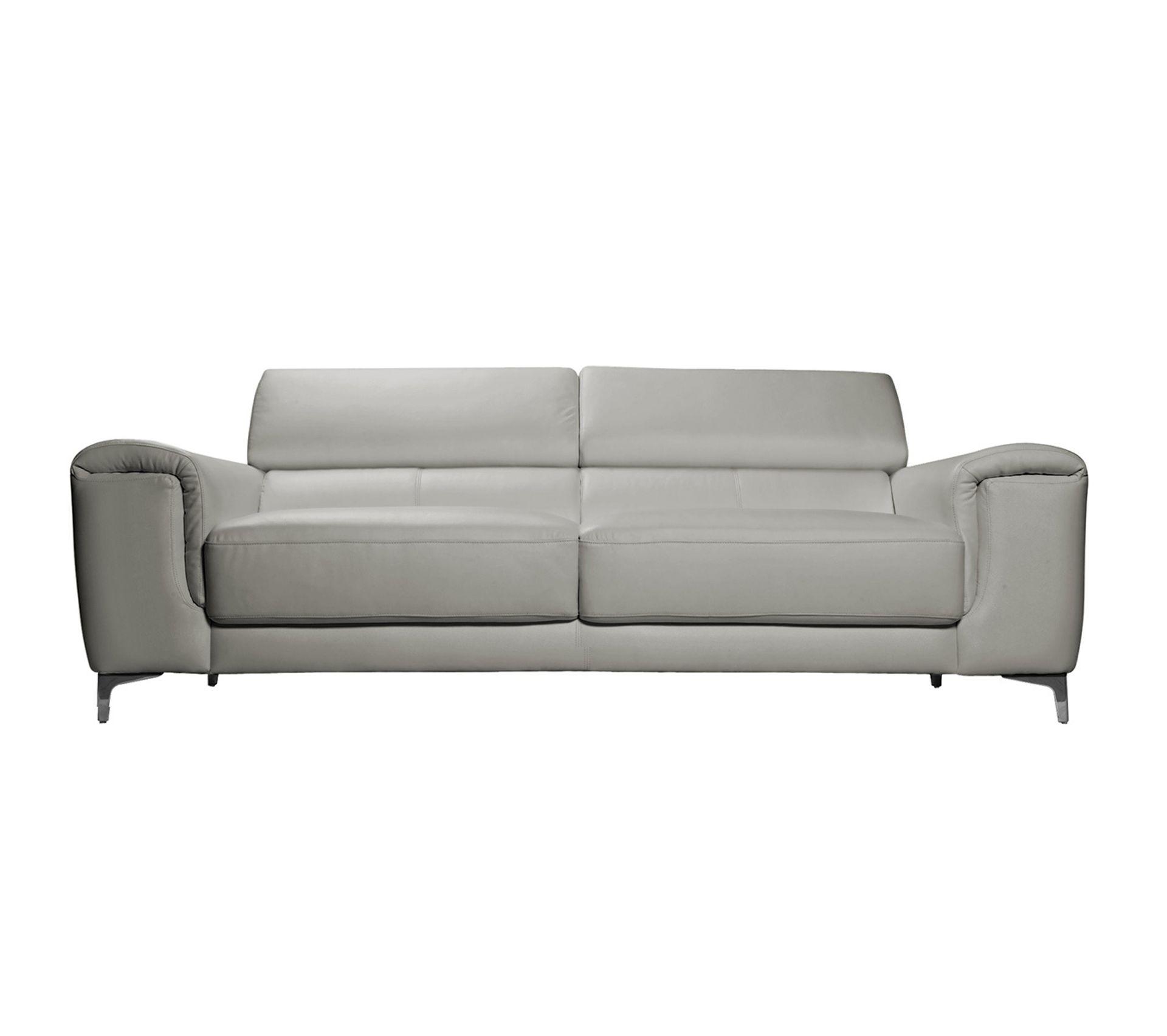 Entretien Canapé Cuir Buffle canapé cuir design 3 places avec têtières relax gris nevada - cuir de buffle