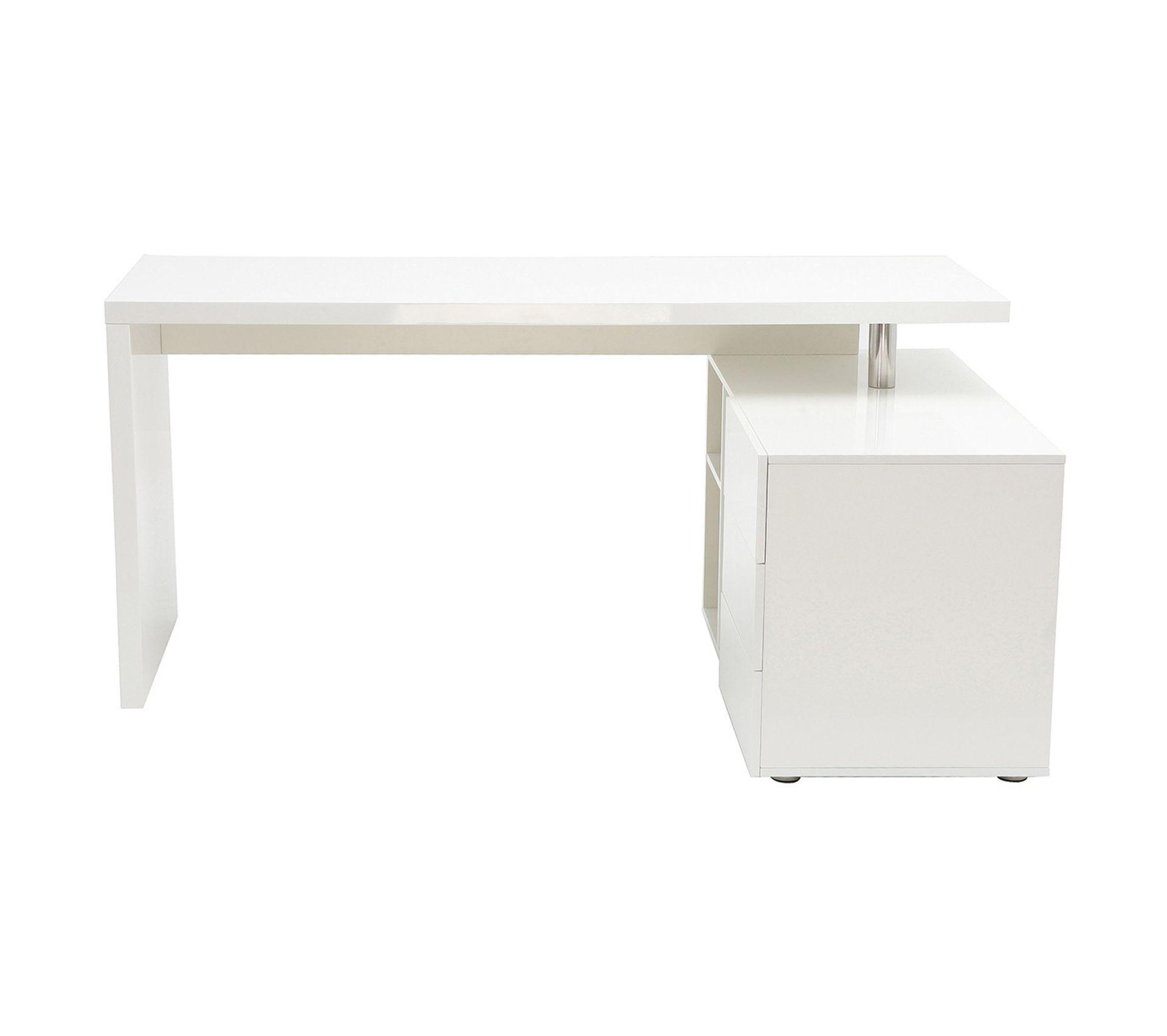 Meuble Blanc Laqué Brillant bureau design blanc laqué brillant rangements À droite maxi
