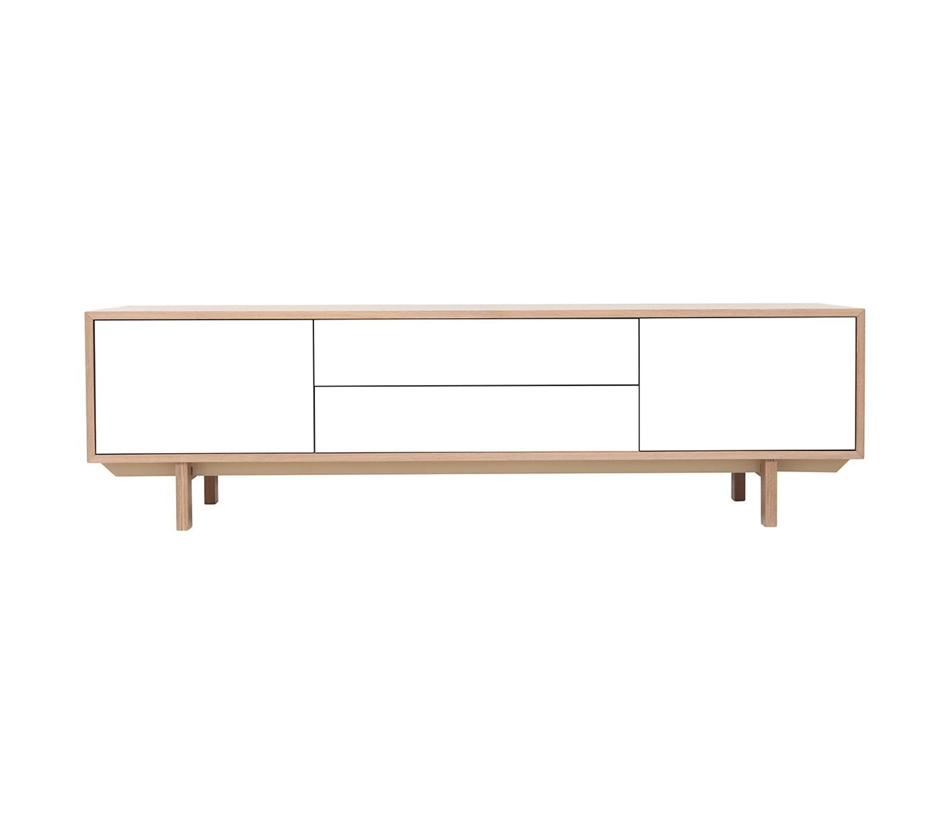 Hauteur Meuble Tele meuble tv scandinave bois et blanc 180 cm sid