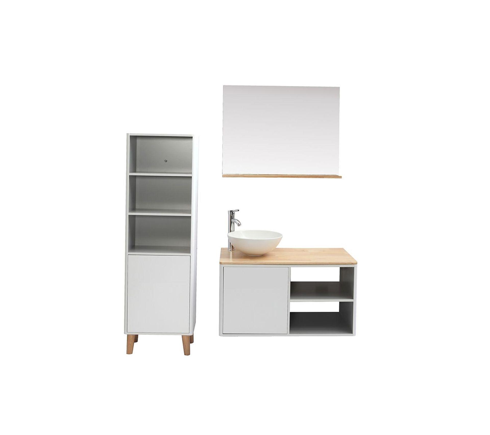 Meuble Pour Vasque Avec Colonne meubles de salle de bains avec colonne et miroir blanc et bois (sans  vasque) laïta