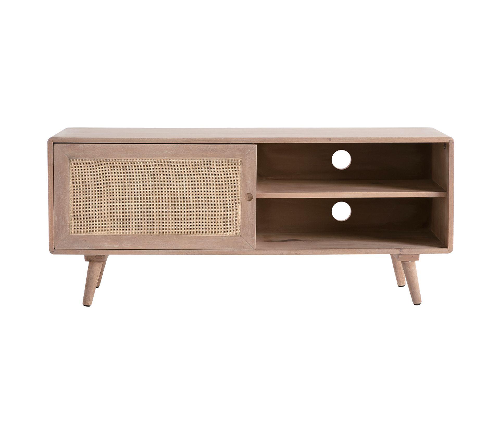 Meuble Cache Poubelle Interieur meuble tv en bois de manguier et cannage acange
