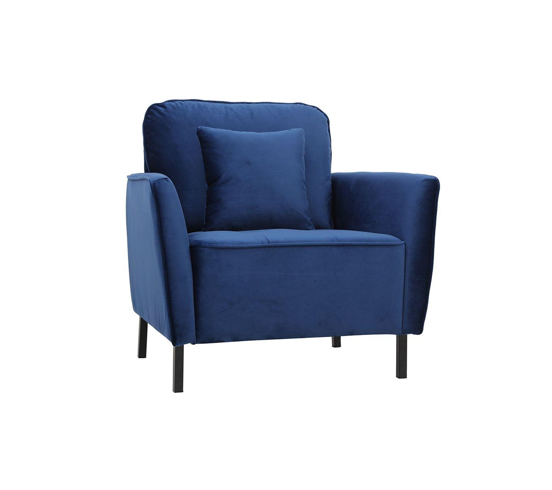 Fauteuil Design En Velours Bleu Beka Fauteuil BUT