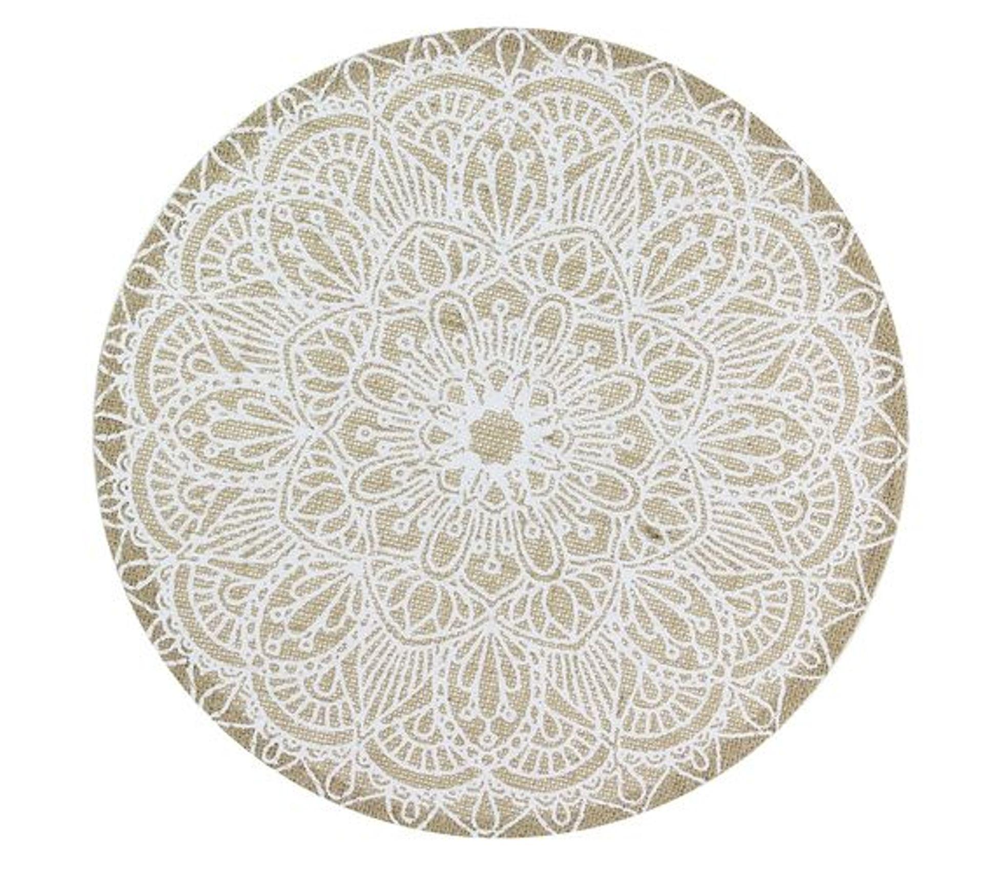 Set De Table En Tissu Ethnical Life Diam 37 Cm Blanc Et Beige