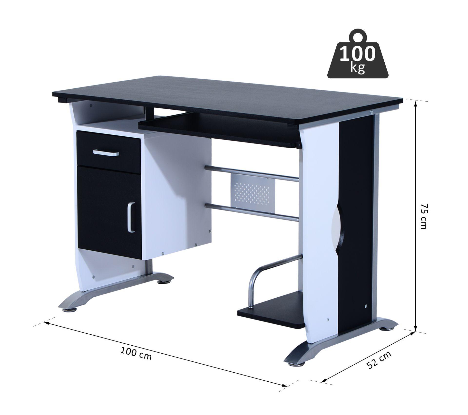 Bureau Noir Et Blanc bureau informatique design en mdf 100 l x 52 i x 75h cm noir et blanc