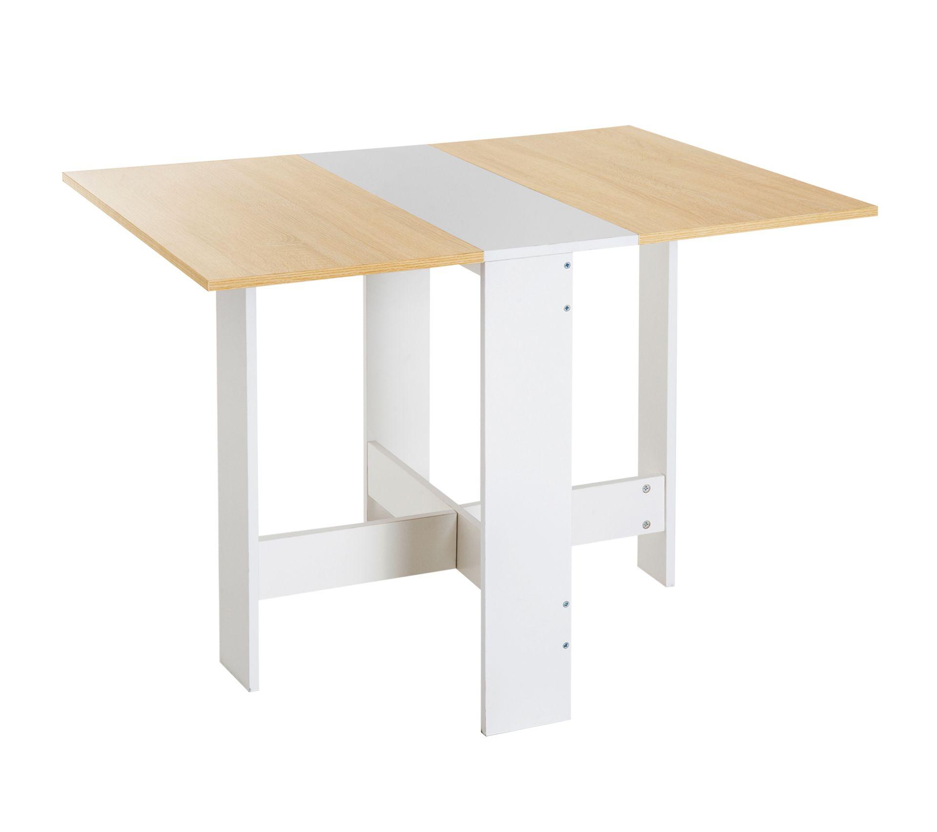 Table Rabattable Pour Cuisine table de cuisine pliable 103l x 76l x 74h cm panneaux particules bicolore  chêne blanc