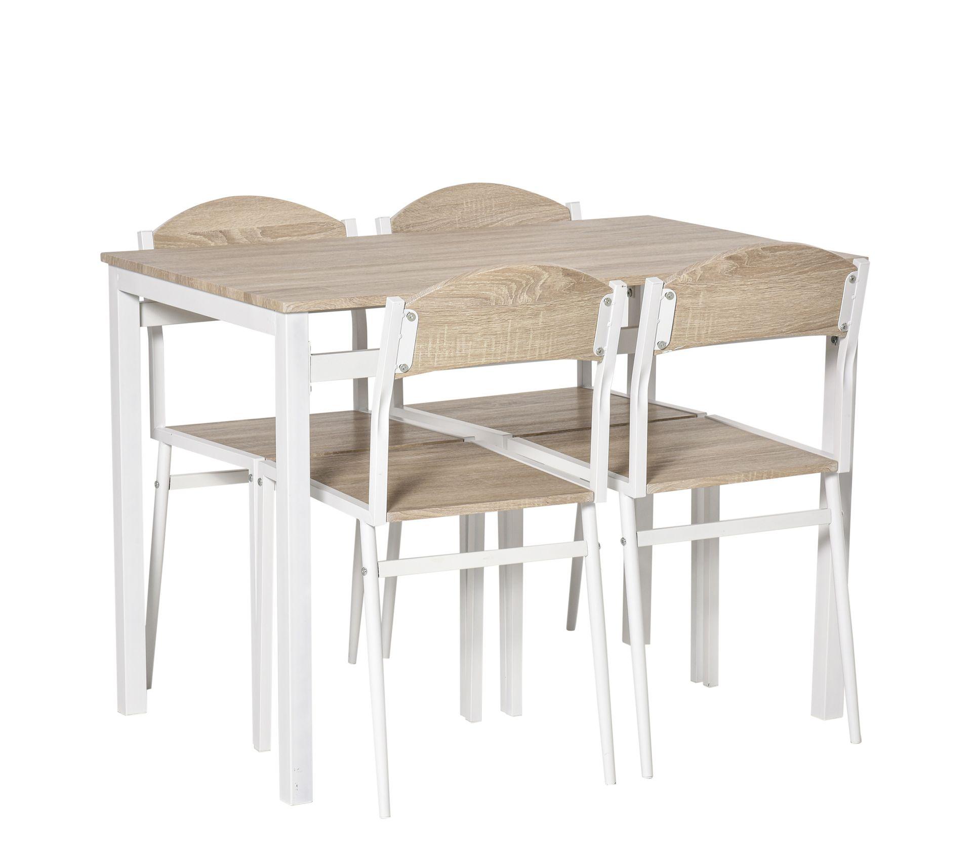 Table Pour Salle À Manger table de salle À manger avec 4 chaises style contemporain acier blanc mdf  coloris bois de chêne