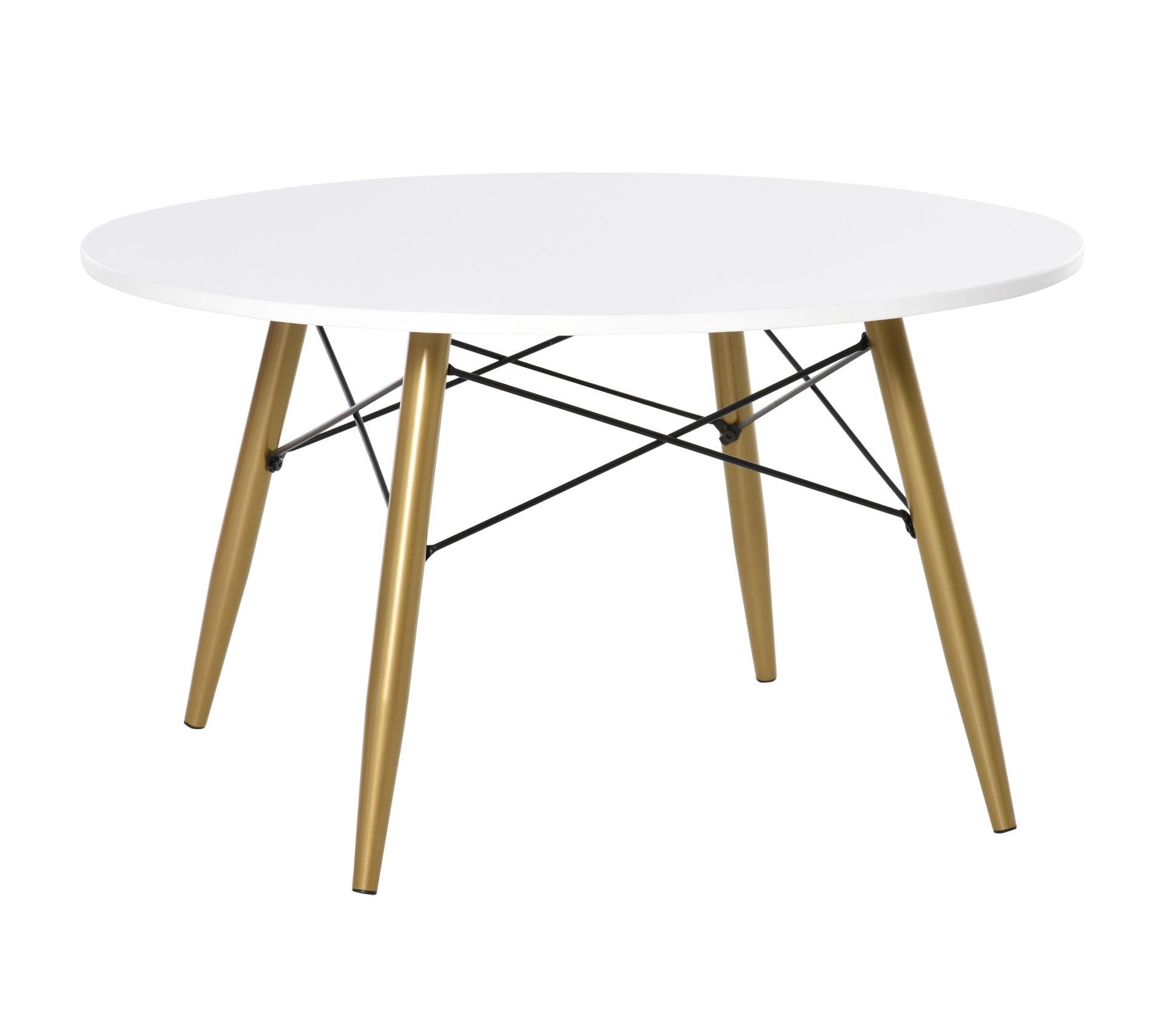 Table Basse Ronde Design Scandinave O 60 X H55 Cm Metal Imitation