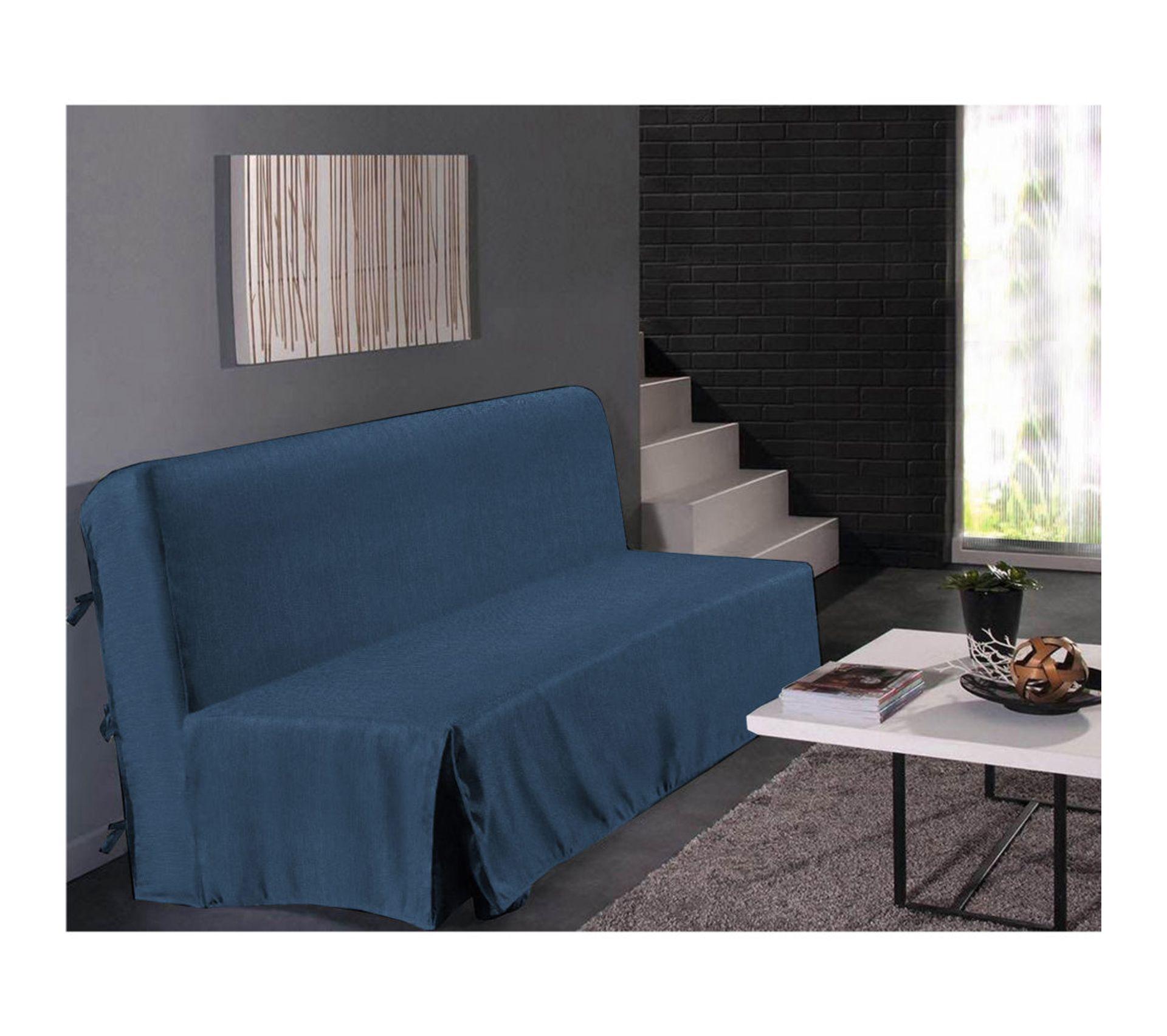Housse De Clic Clac Aspect Lin 3 Places Bleu Dimensions : 200x200 cm