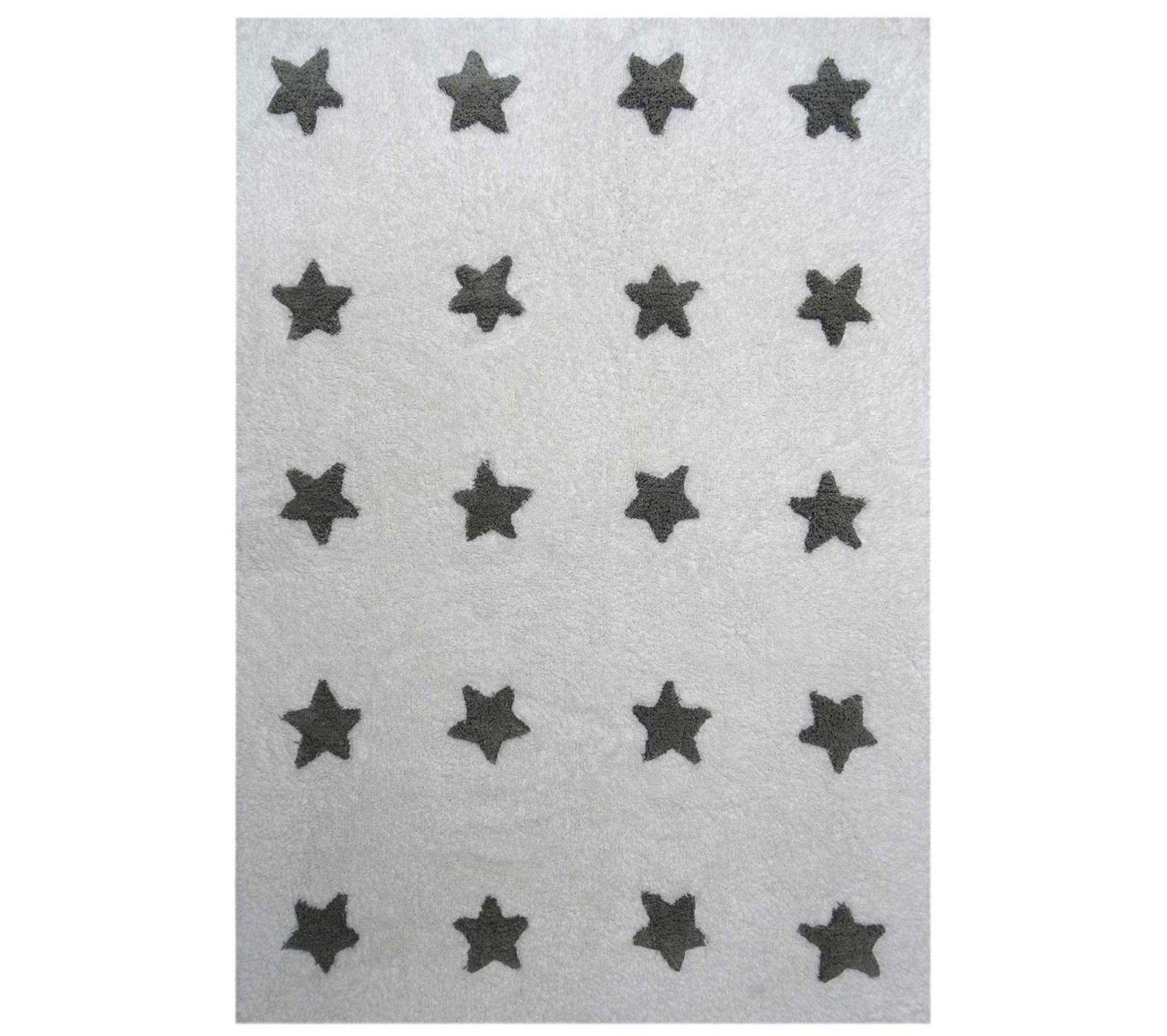 160x230 tapis enfant rectangulaire etoile blanc