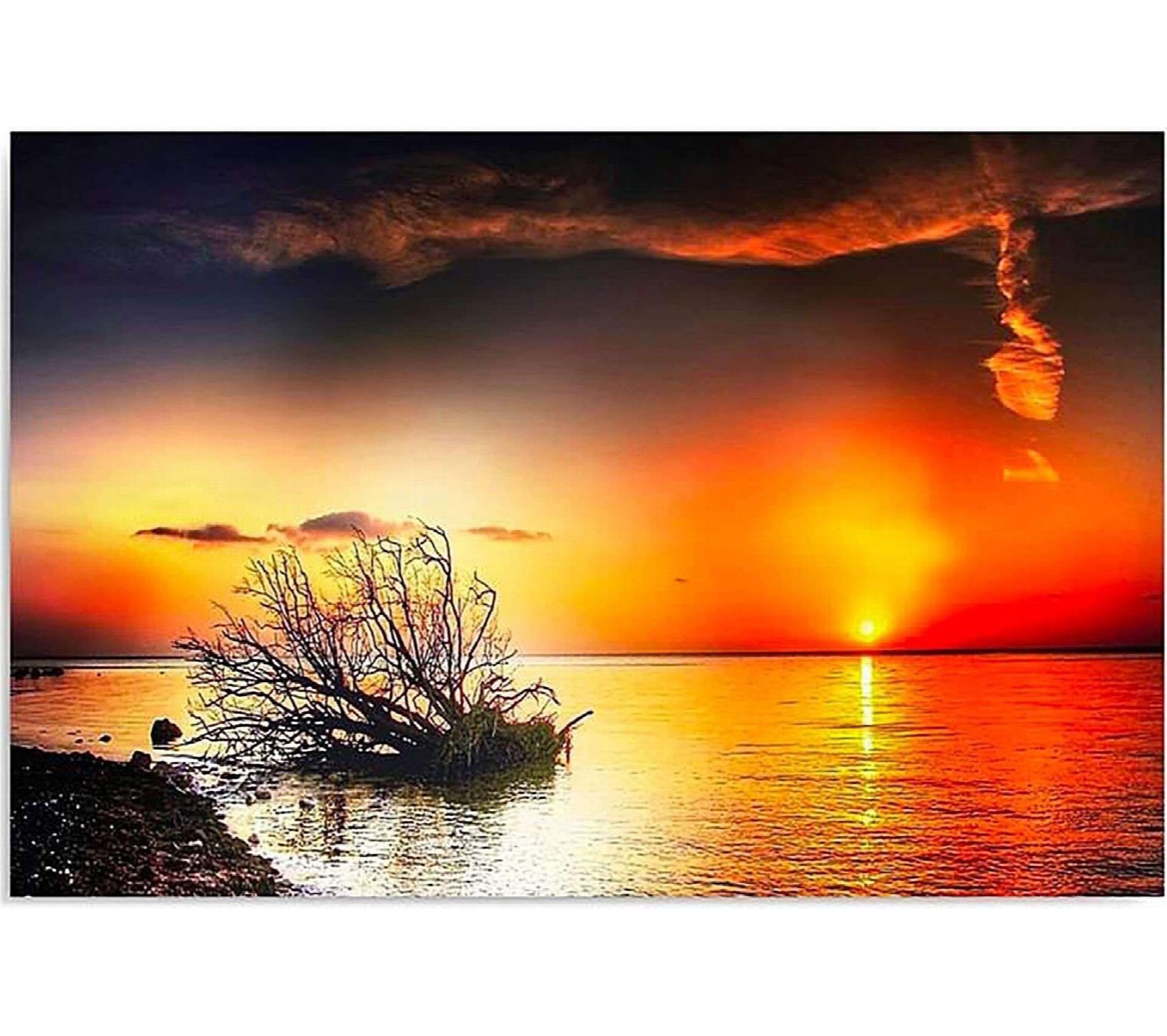Tableau Coucher De Soleil Sur La Mer 4 50 X 40 Cm Tableau