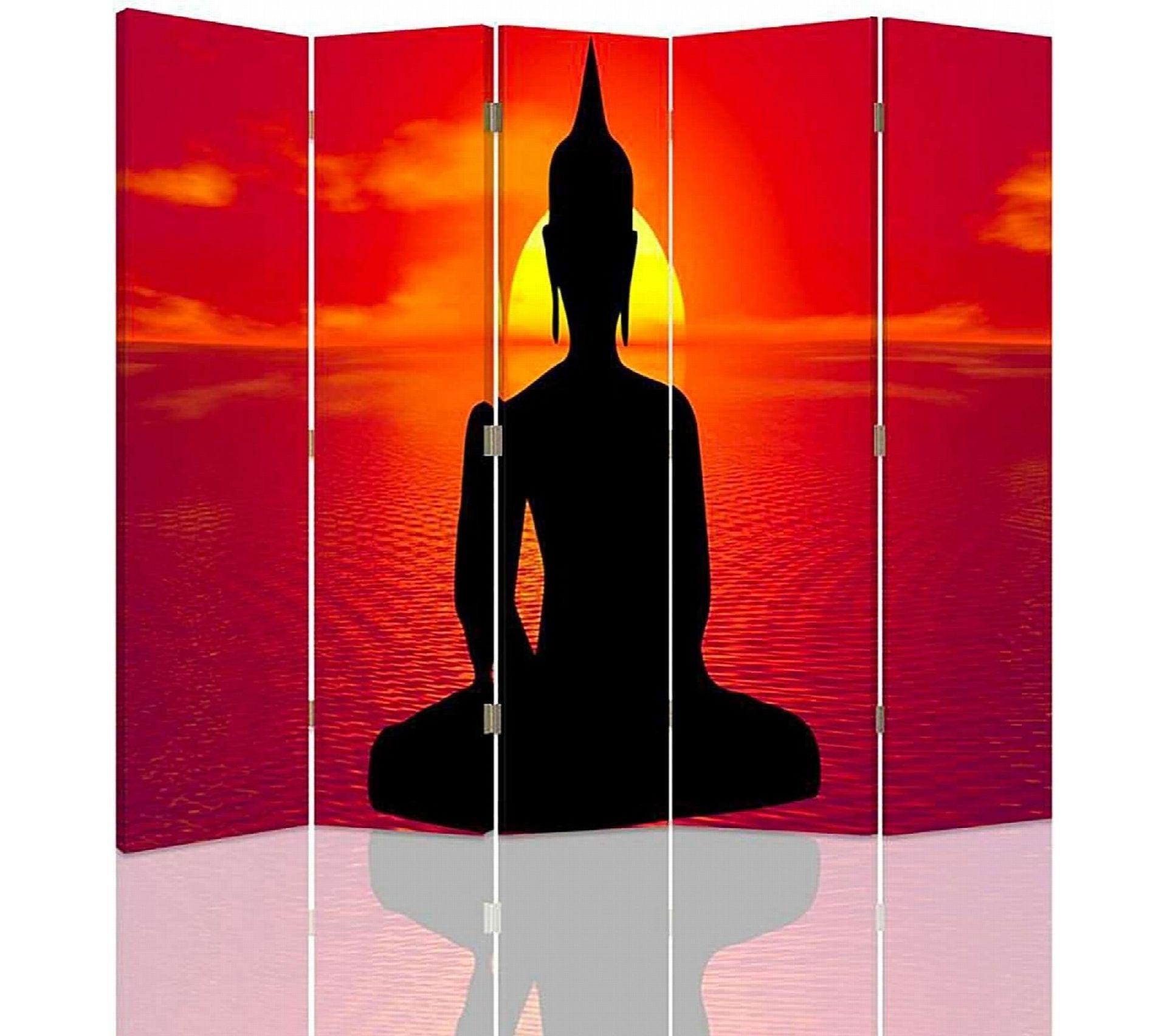 Décoration Salle De Méditation paravent 5 volets bouddha méditation 180 x 180 cm - 1 face déco
