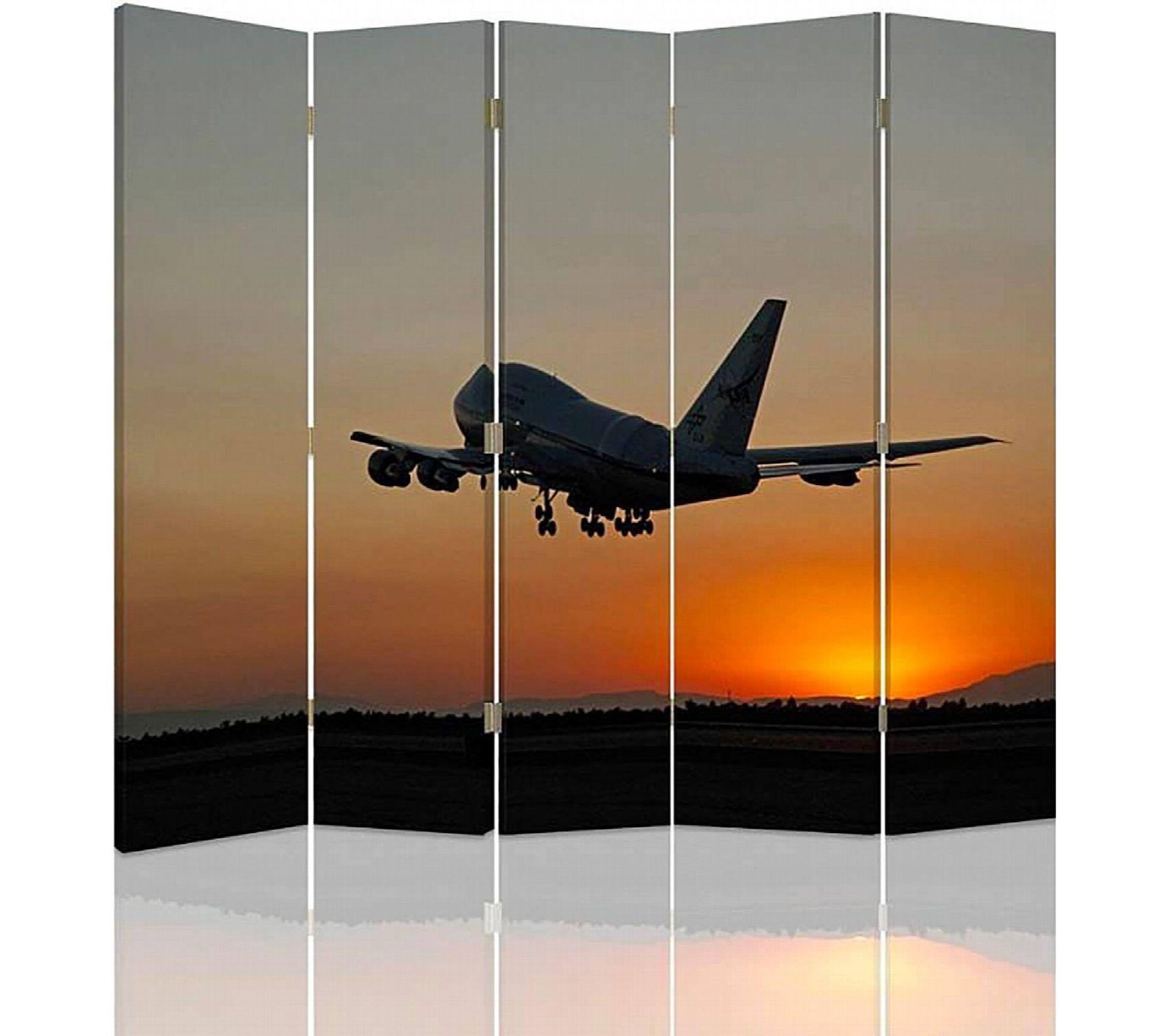 Etagere Avion Chambre Bebe paravent 5 volets diviseur de chambre, la nuit avion 180 x 150 cm - 1 face  déco