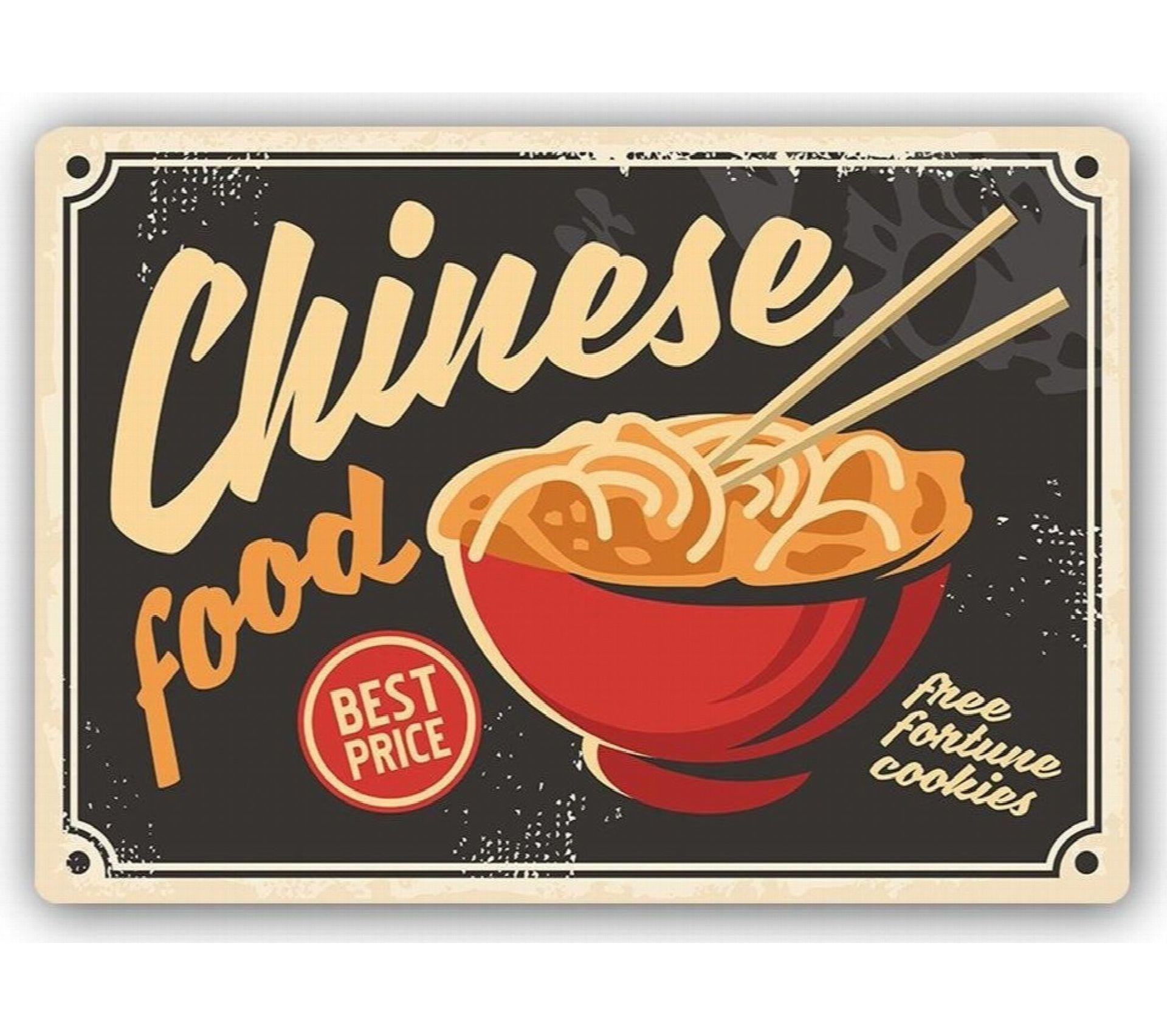 Plaque Acier Déco Retro Chinese Cuisine 15 X 15 Cm