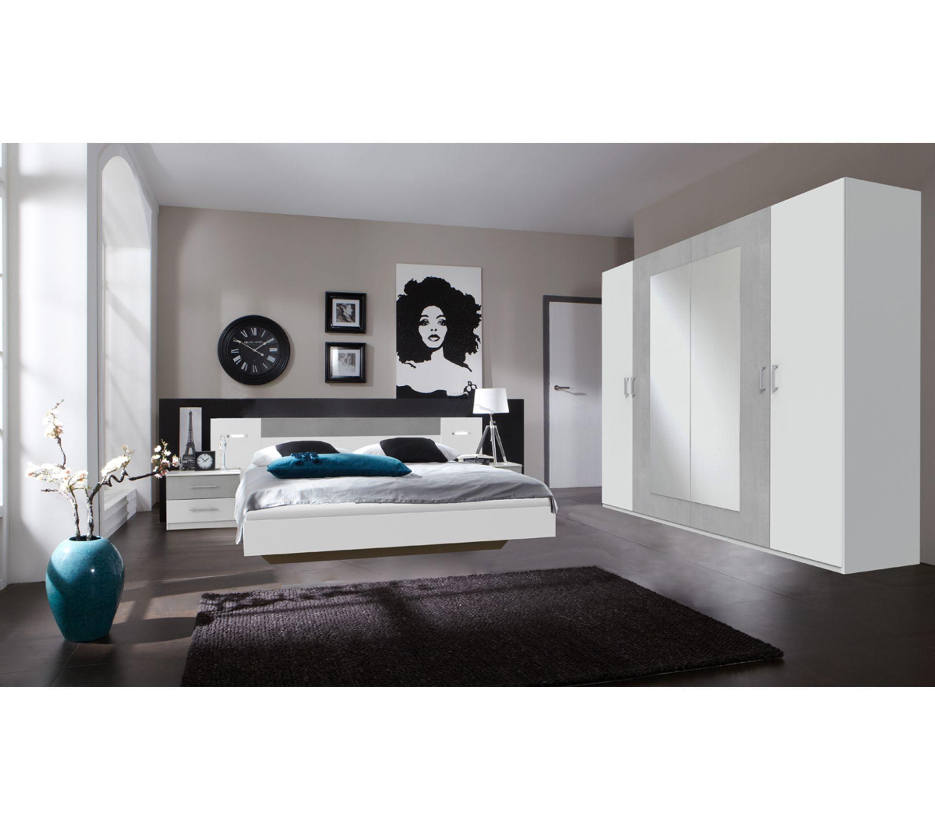 Teinte De Gris Clair ensemble chambre adulte en imitation chêne hickory, rechampis teinte beton  gris clair - 160 x 200 cm