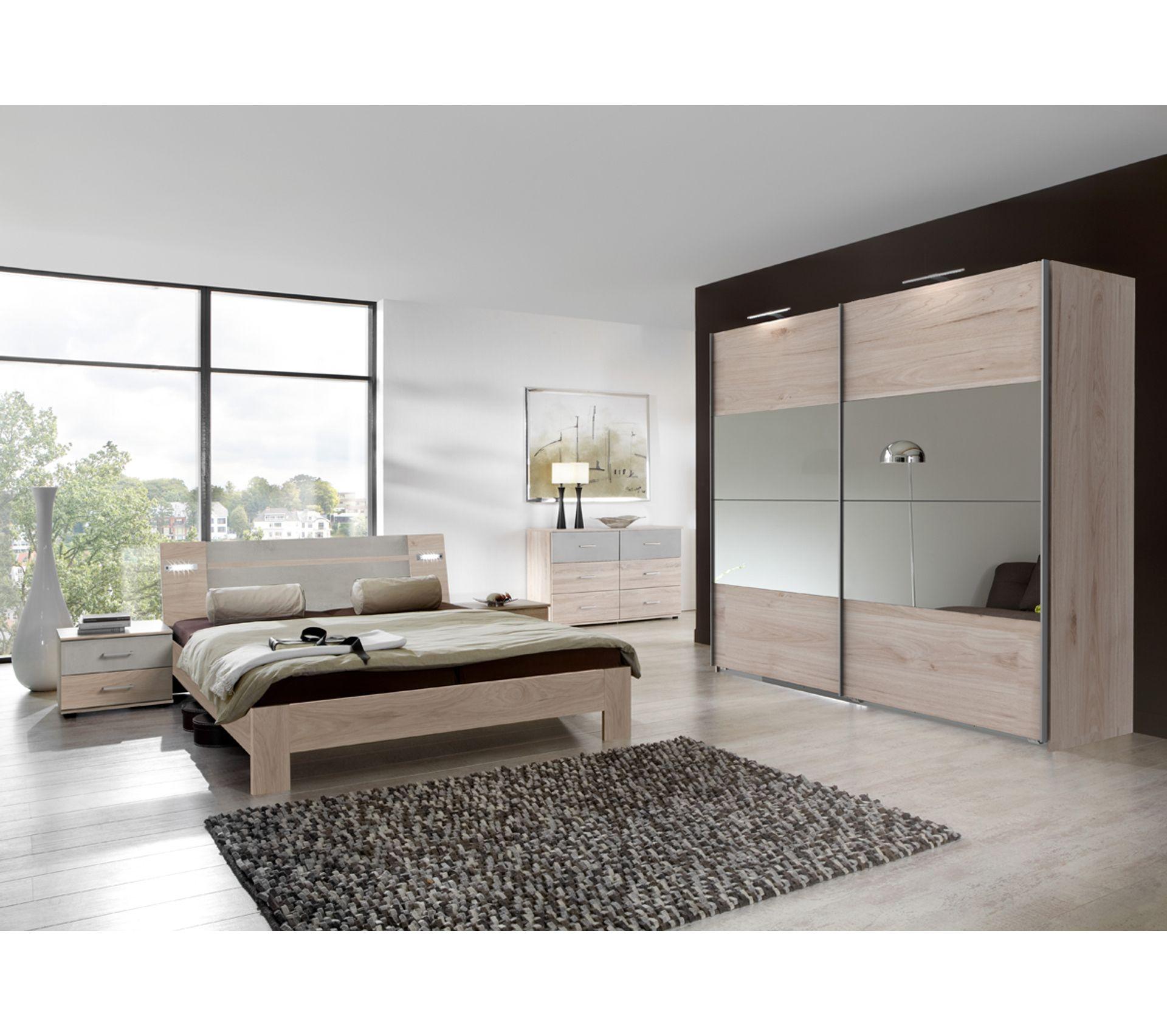 Teinte De Gris Clair chambre adulte complète imitation chêne hickory, rechampis teinte beton  gris clair, 180x200 cm