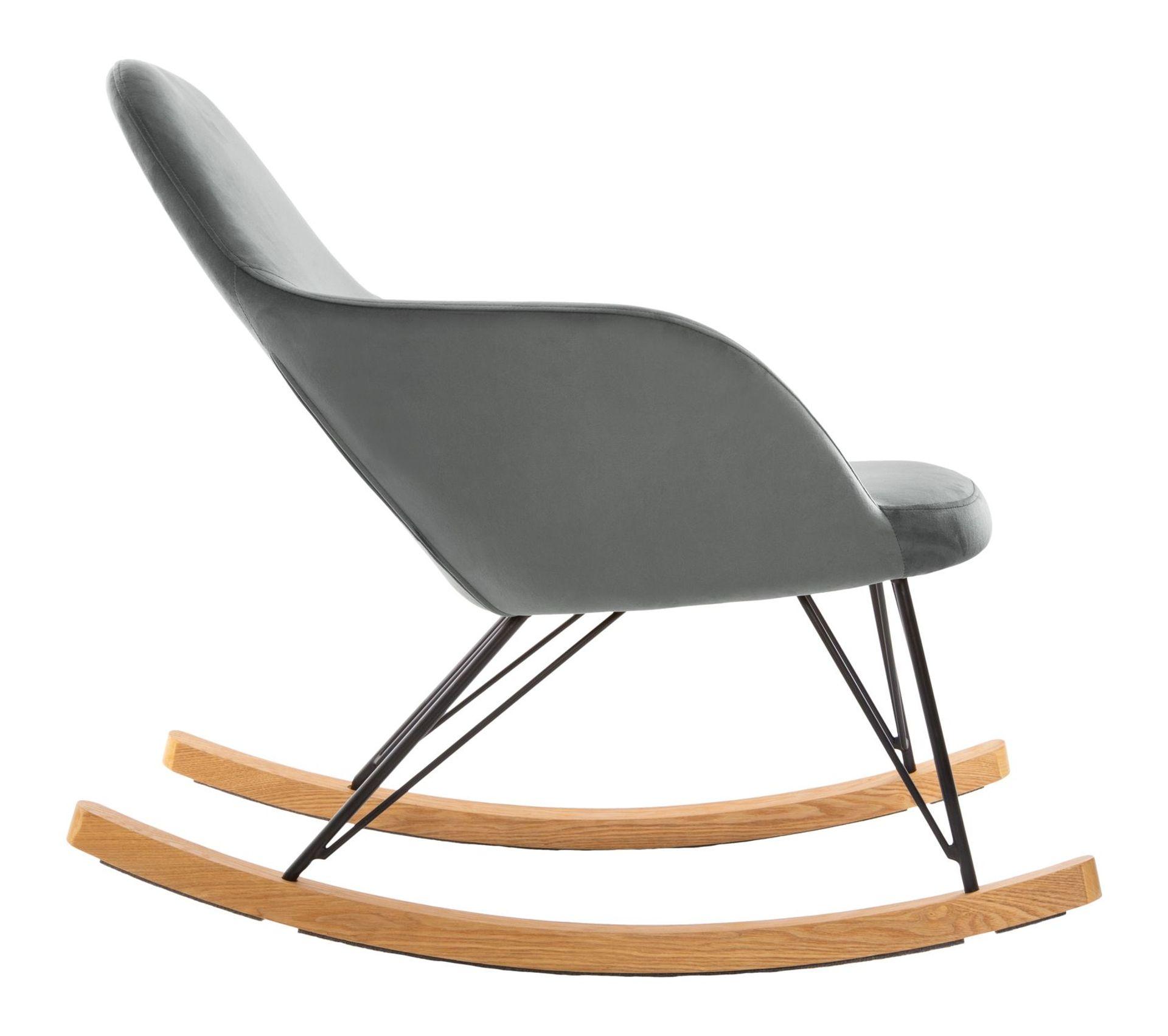 Rocking Chair En Velours Ewan Gris