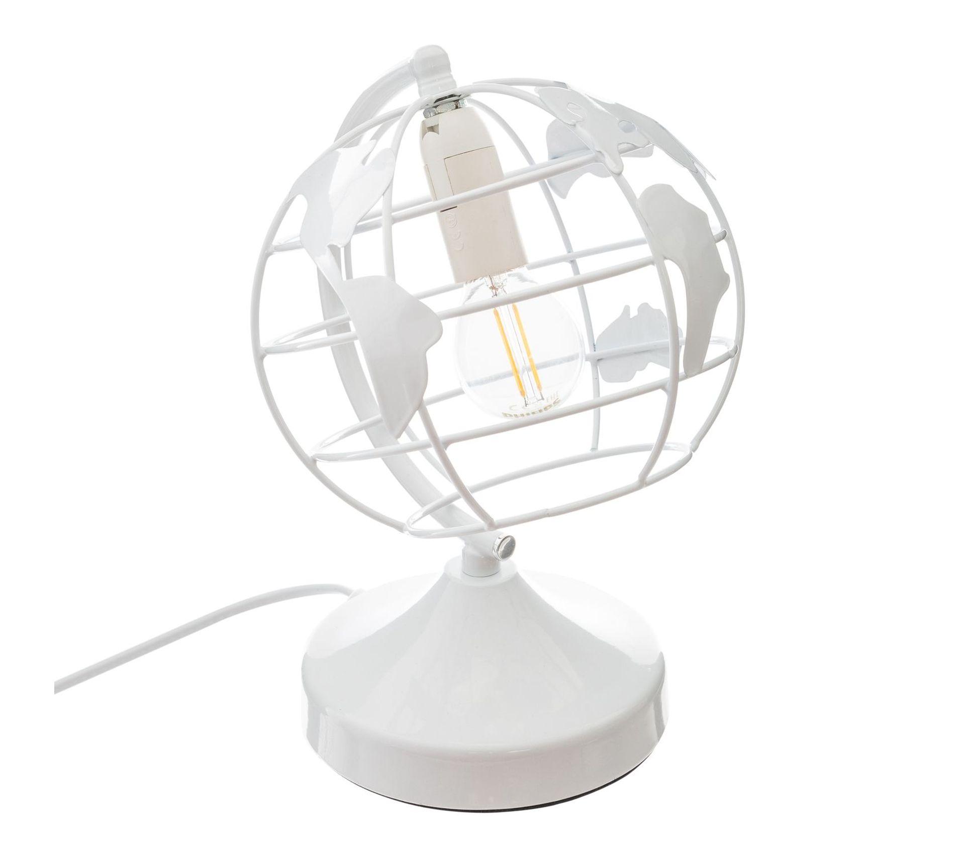 Lampe À Poser Enfant Globe Terrestre Diam. 16 Cm Blanc