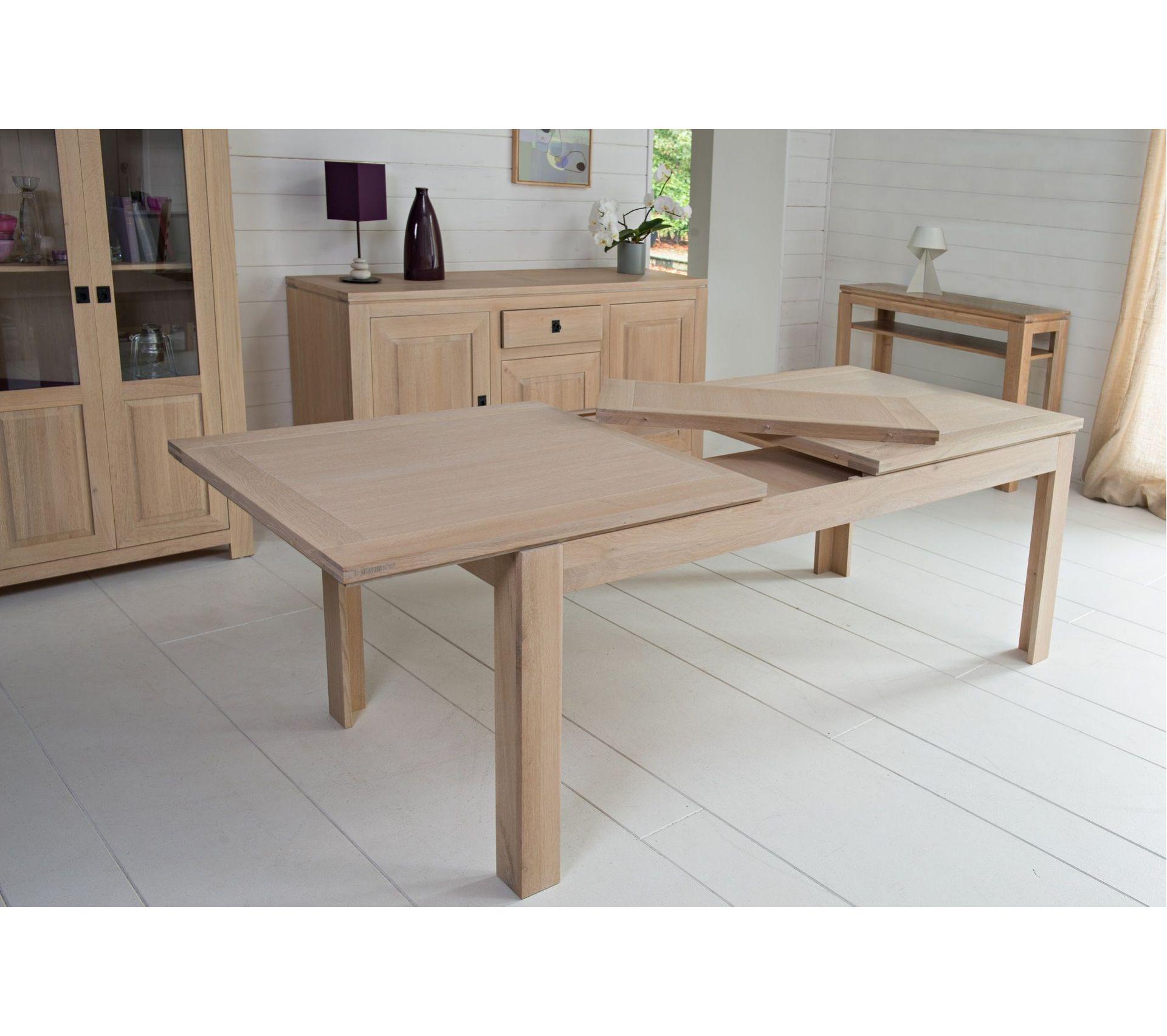 Table En Bois Chene Clair table moderne extensible boston - bois chêne blanchi massif