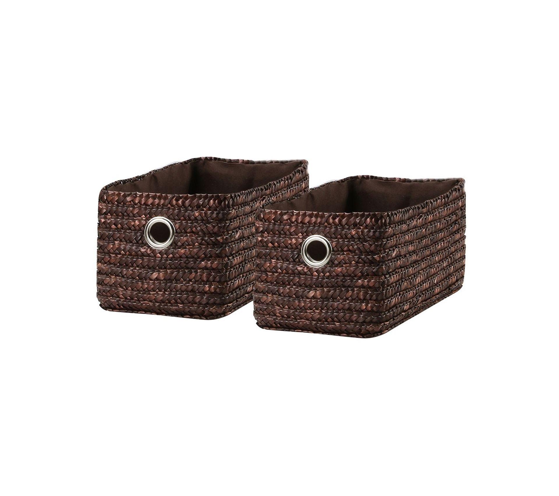 Paille De Fer Souris tiroir en paille tressé chocolat lot de 2 - petit modèle