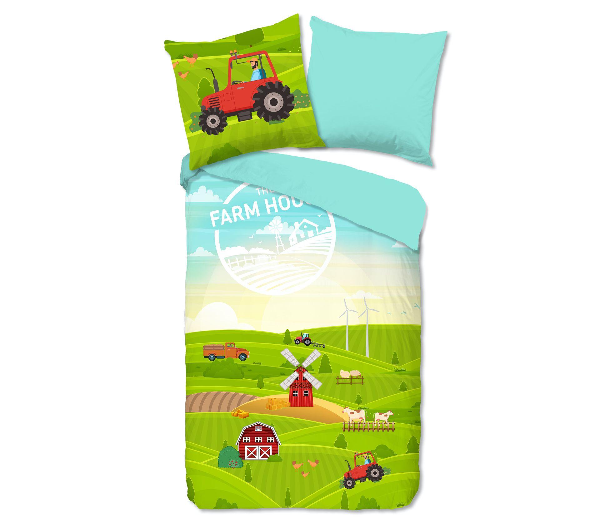 Parure de lit Animaux de la Ferme pour B/éb/é Housse de Couette Tracteur Vert 90x120 cm Taie dOreiller 40x60 cm