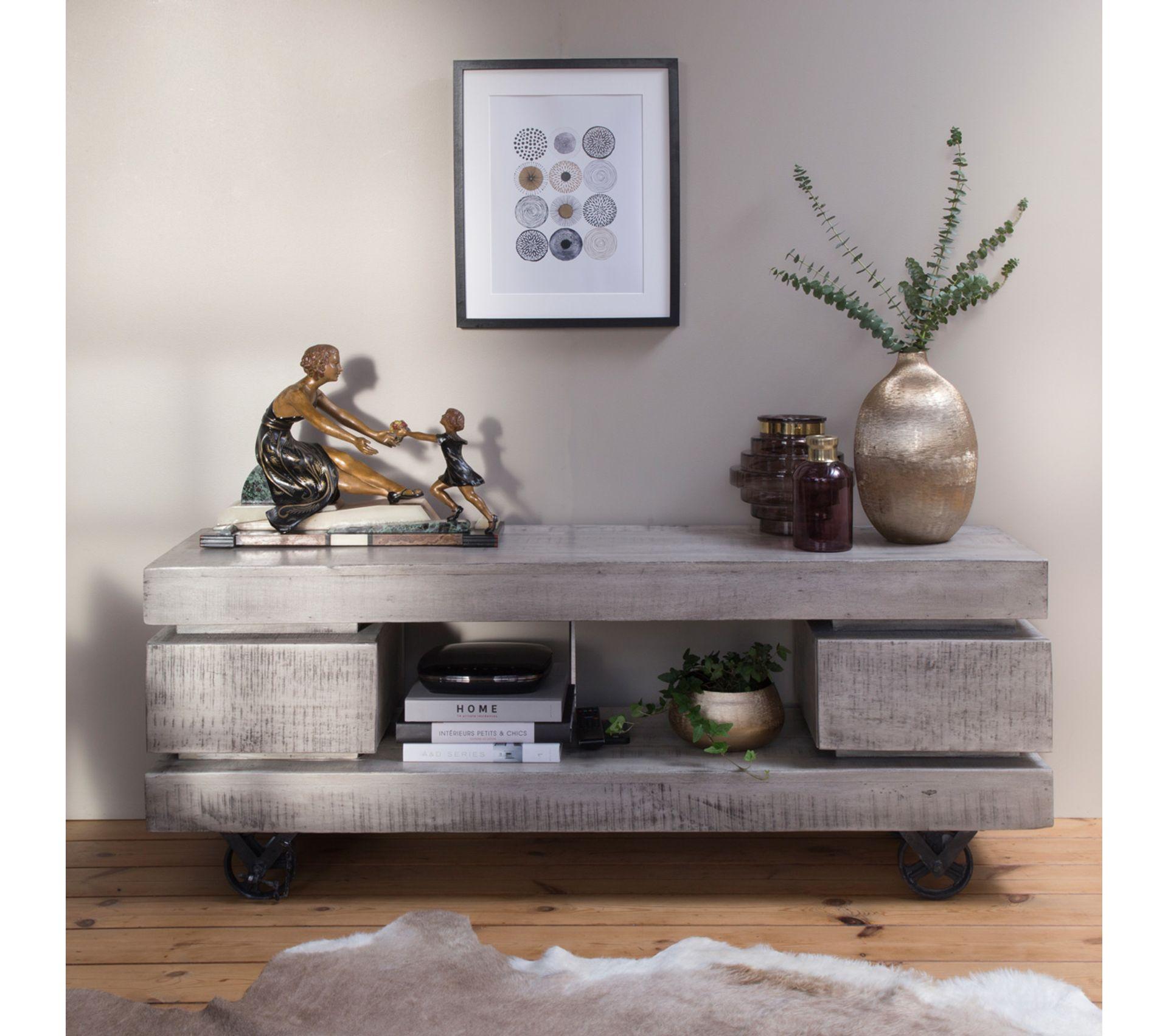 Mettre Des Roulettes Sous Une Table meuble tv À roulettes 2 tiroirs 1 niche bois et métal finition gris blanc