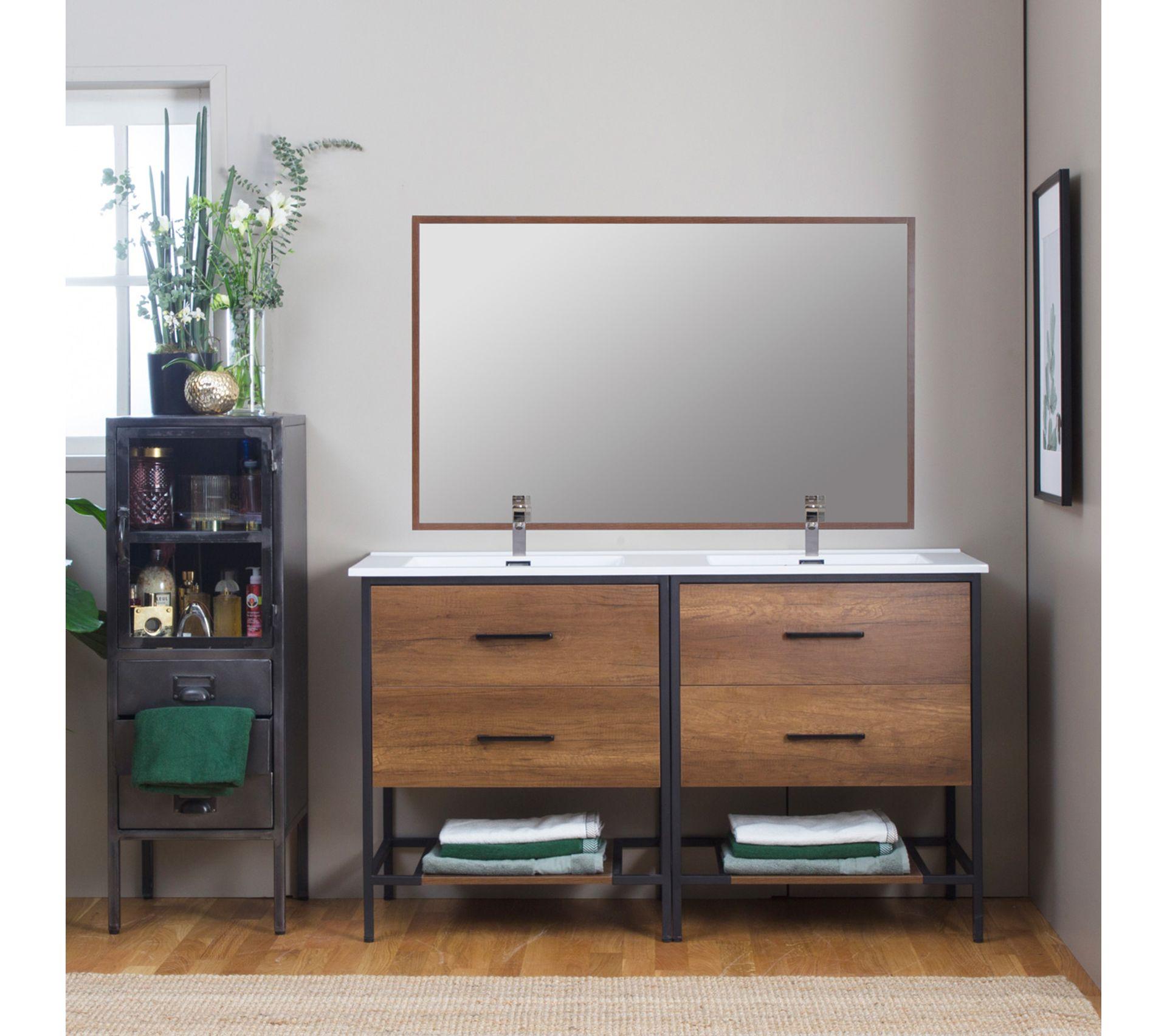 Espace Entre 2 Vasques meuble salle de bain industriel 4 tiroirs, 2 vasques - grand modèle
