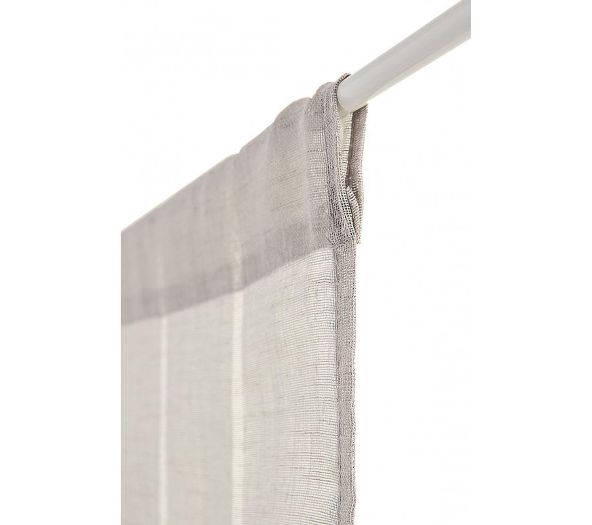 Tringle D Angle Dressing voilage vitrage 60 x 240 cm passe tringle effet gaze de lin À rayures  verticales gris