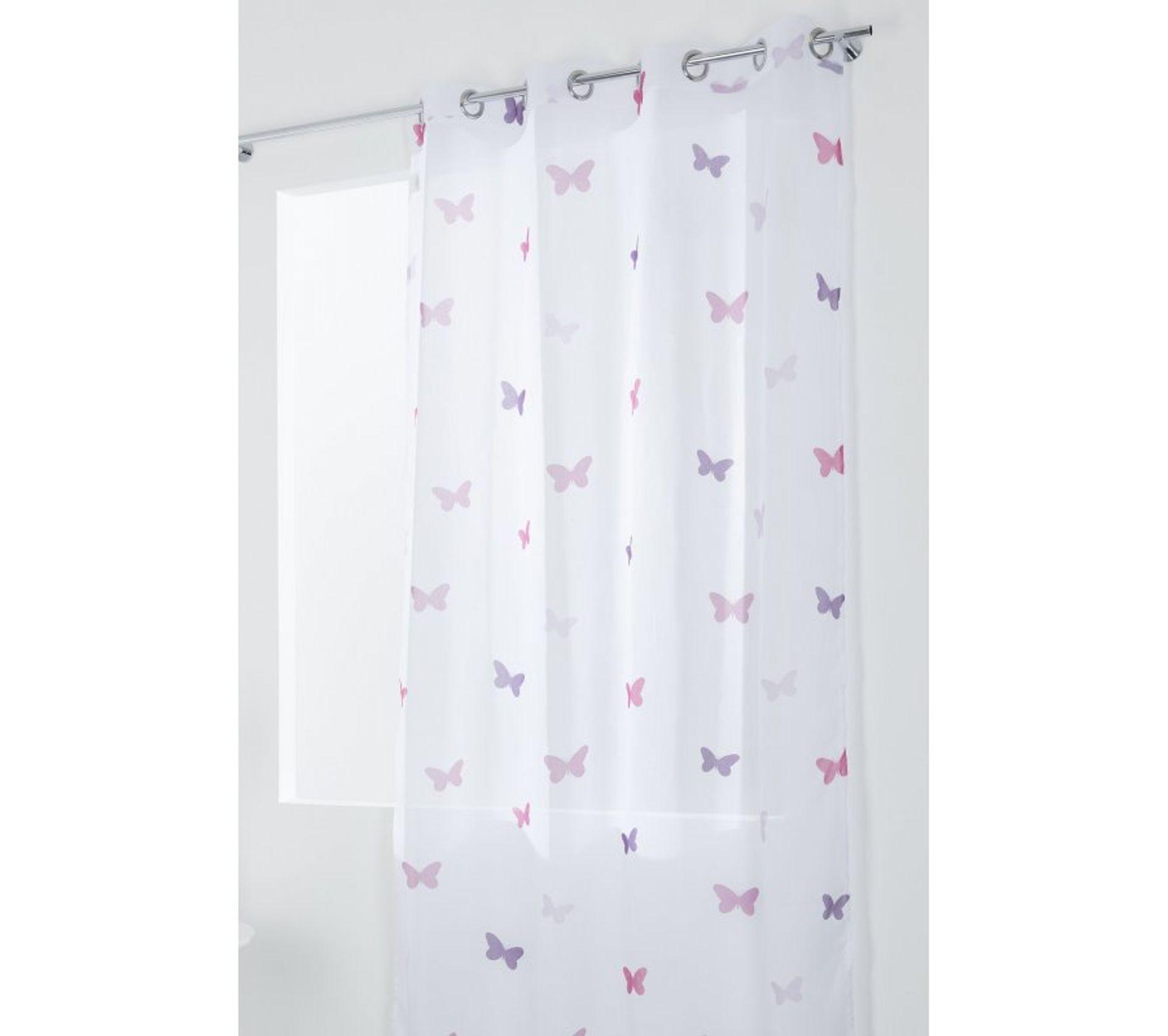 Voilage Chambre Enfant Filles 140 Cm X 280 Cm Grande Hauteur à Oeillets à Motif Imprimé Papillons Blanc Rose Violet