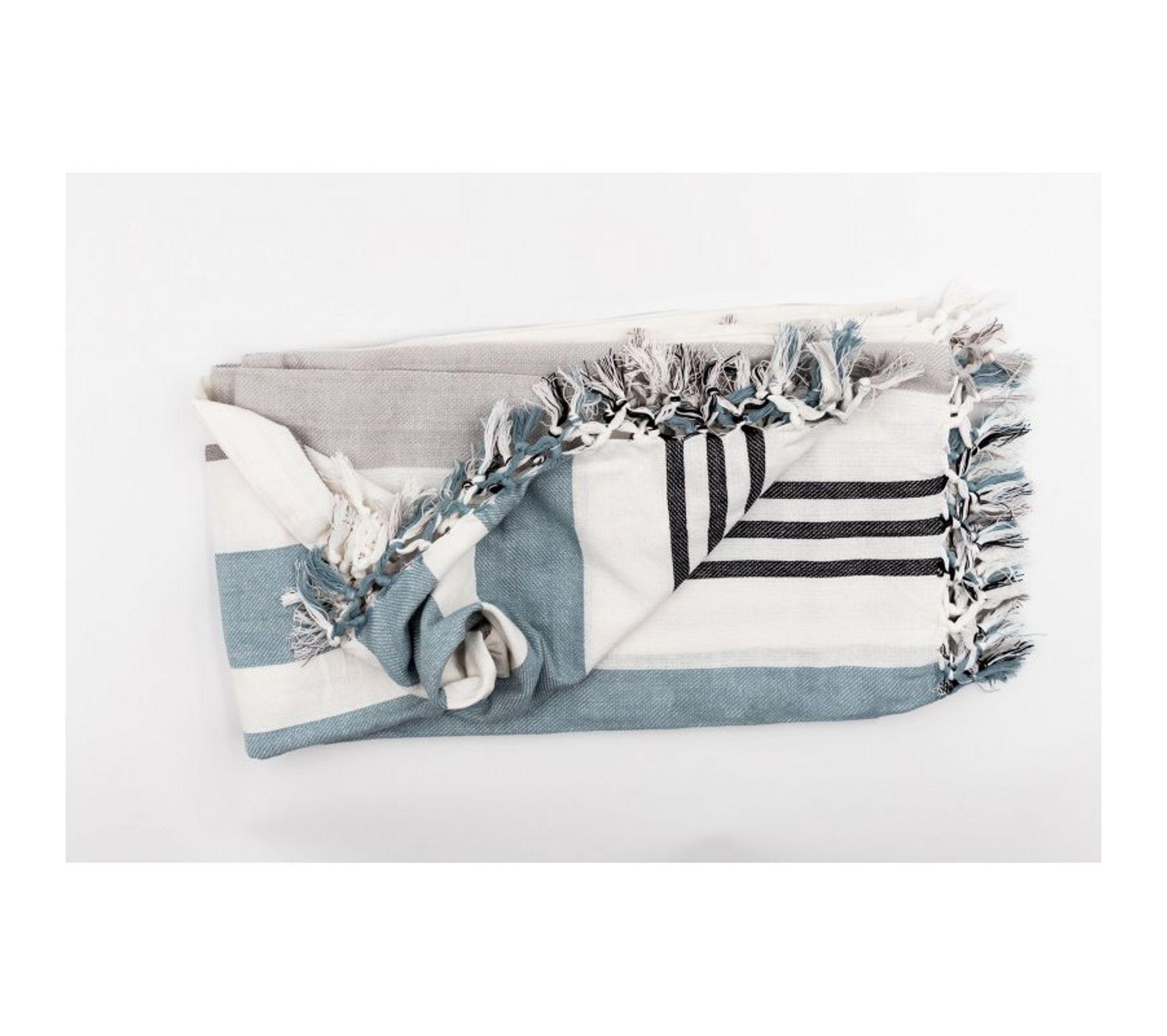 Jeté 100/% Coton 130 x 180 cm Tissé Teint Nuances de Gris Bleu Fouta Plaid