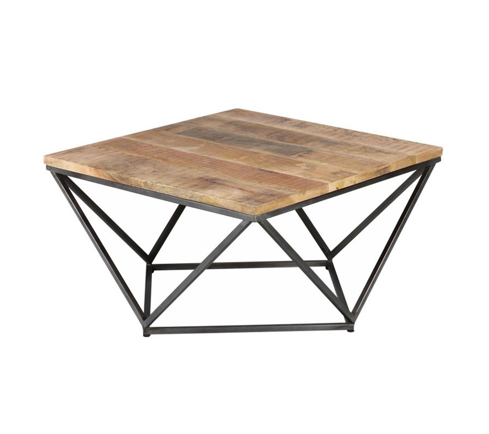 Table Basse Carree Metal Et Bois