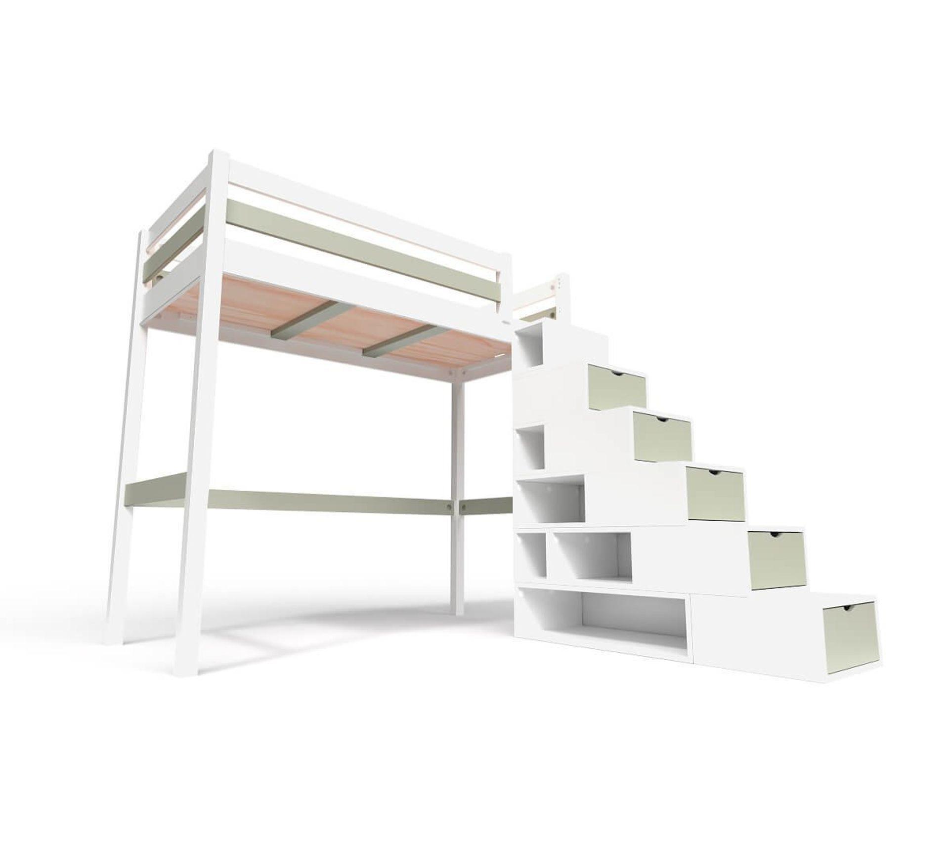 Lit Mezzanine Sylvia Avec Escalier Cube Bois Couleur Blanc Moka Dimensions 90x200 Lit Superpose Mezzanine But