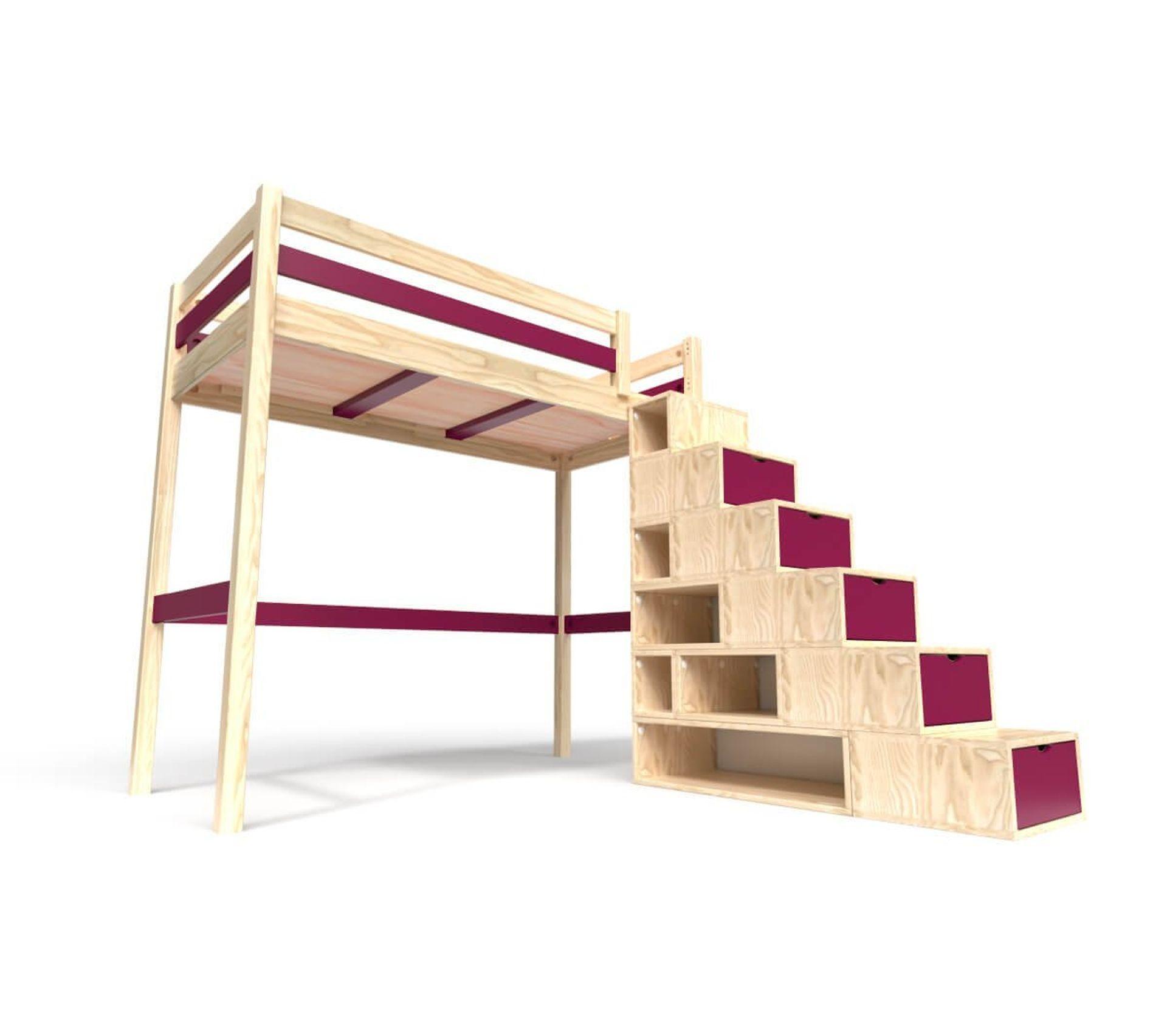 Lit Mezzanine Escalier Cube lit mezzanine sylvia avec escalier cube bois, couleur: vernis  naturel/prune, dimensions: 90x200
