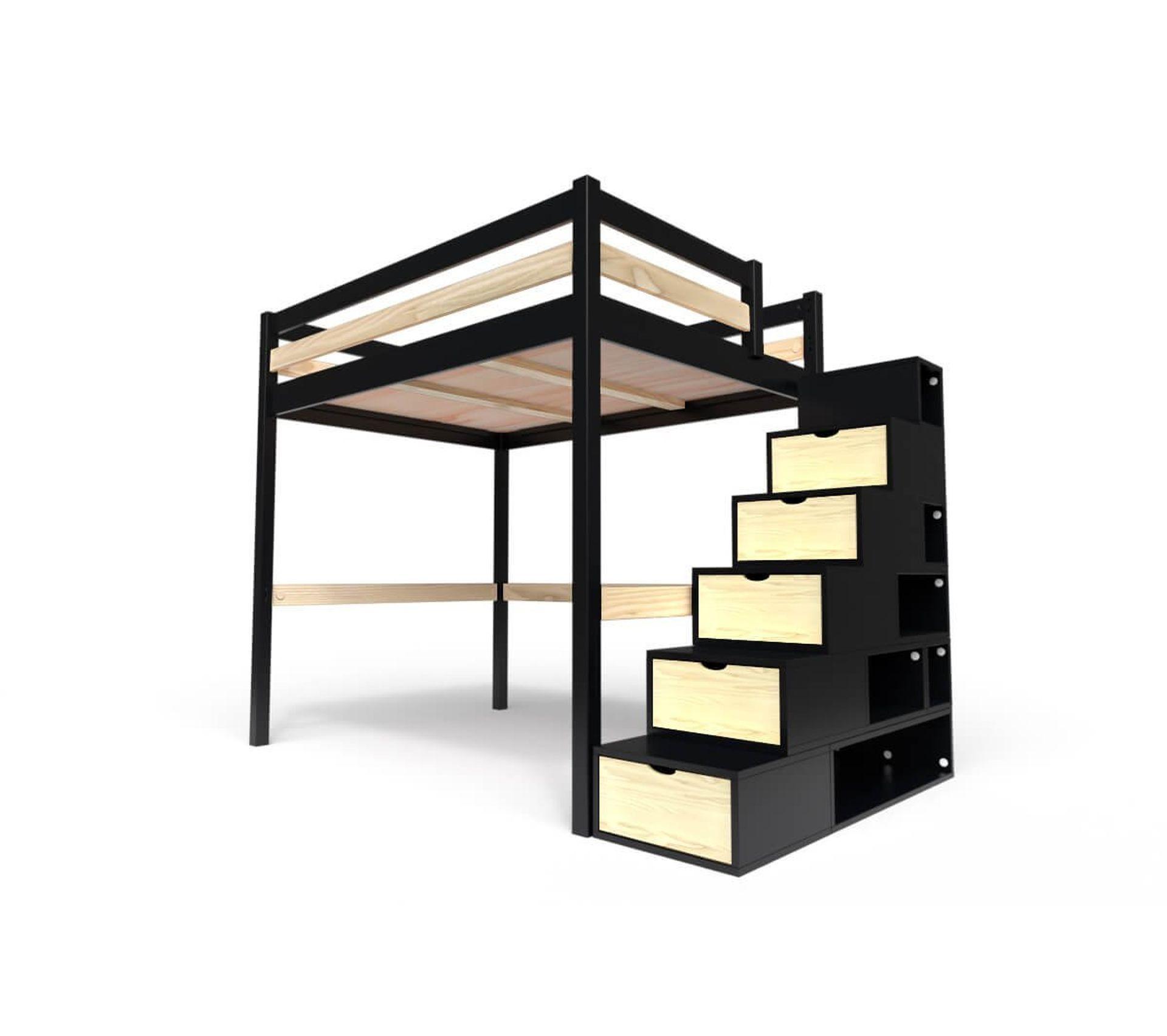 Escalier En Bois Avec Rangement lit mezzanine sylvia avec escalier cube bois, couleur: noir/vernis naturel,  dimensions: 160x200