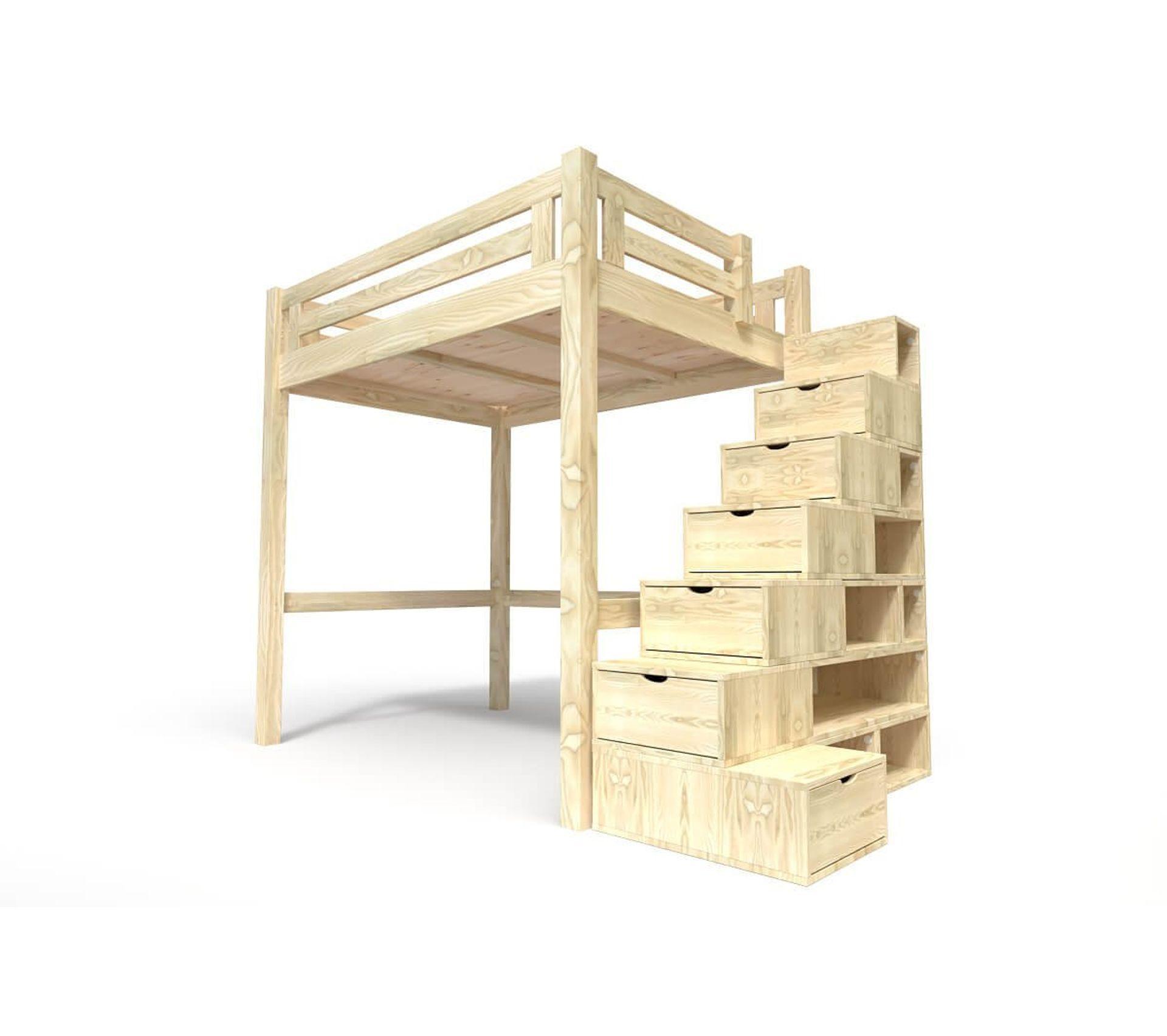 Lit Superposé Marche Escalier lit mezzanine alpage bois + escalier cube hauteur réglable, couleur: brut,  dimensions: 120x200