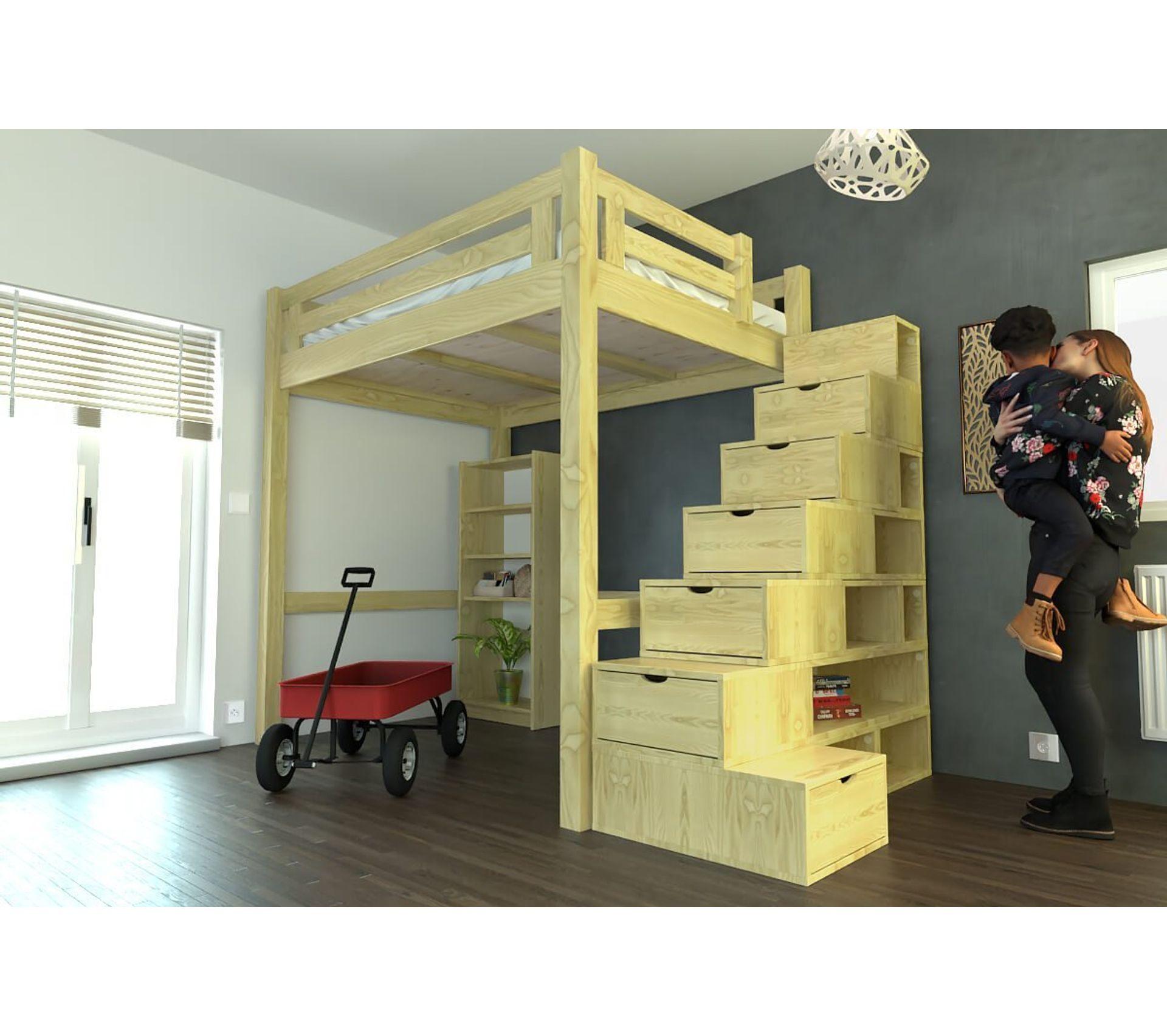 lit mezzanine alpage bois  escalier cube hauteur réglable