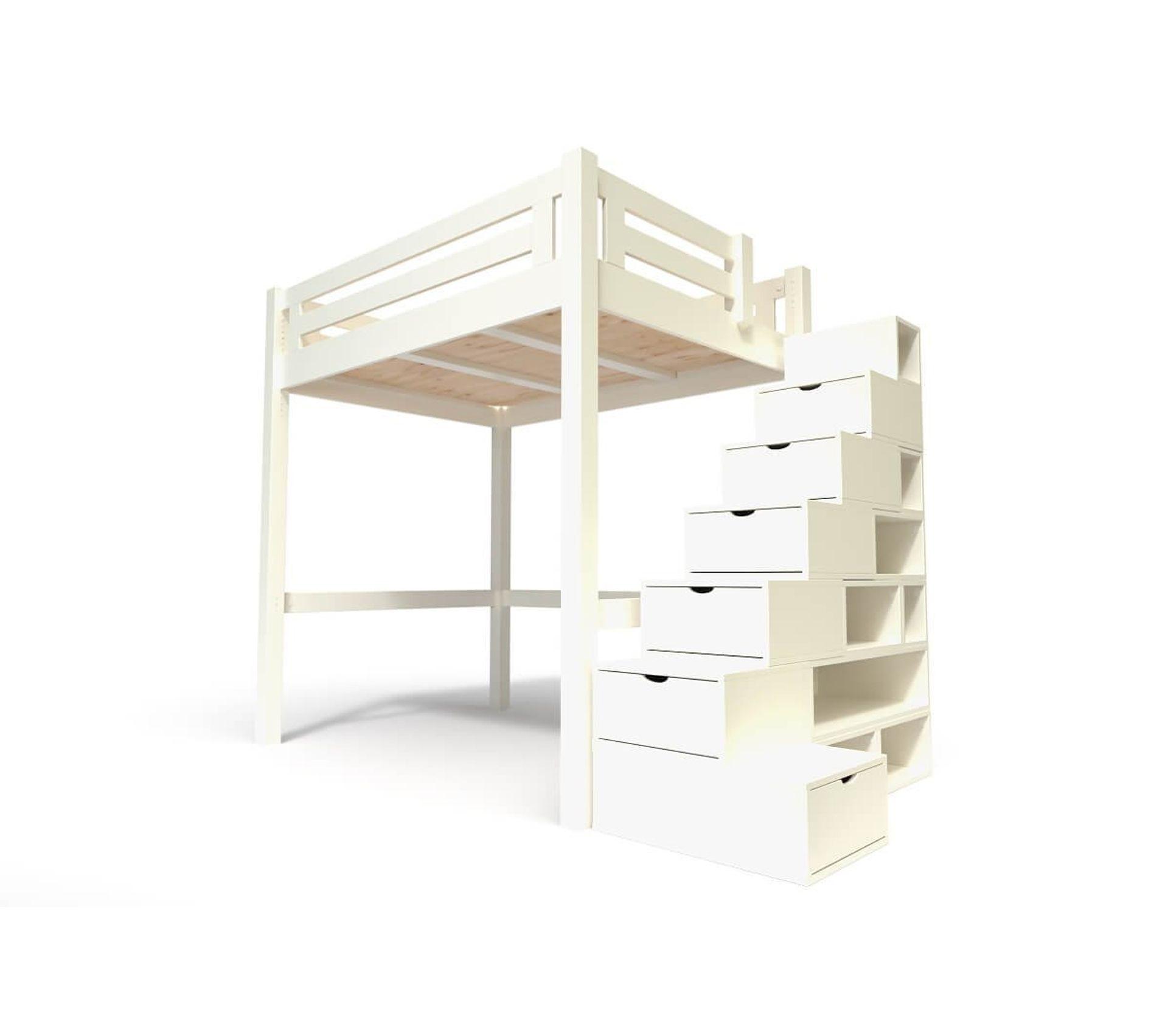 Lit Mezzanine Escalier Cube lit mezzanine alpage bois + escalier cube hauteur réglable, couleur:  ivoire, dimensions: 120x200